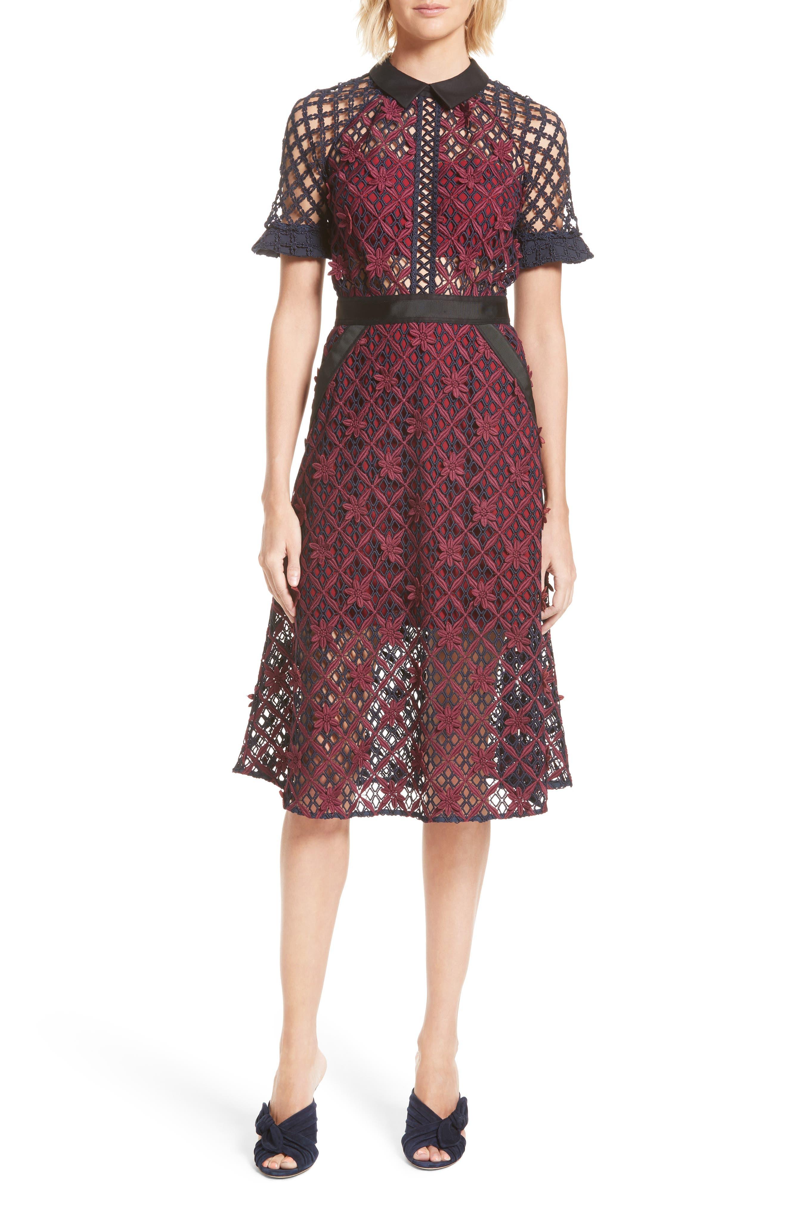 Main Image - Self-Portrait Floral Grid Midi Dress