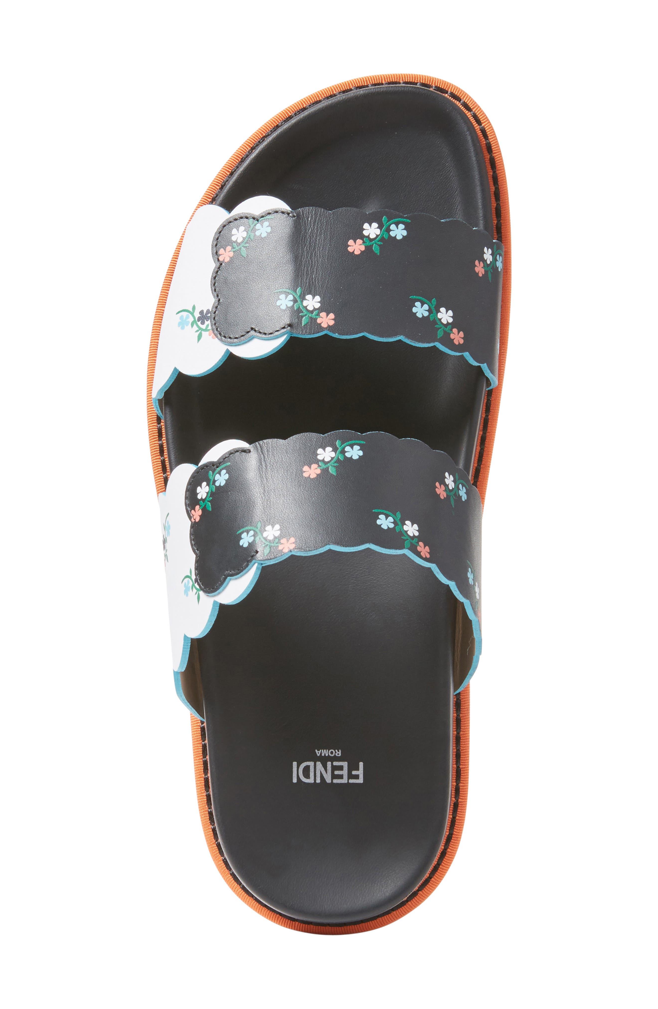 Scallop Slide Sandal,                             Alternate thumbnail 4, color,                             Black Floral