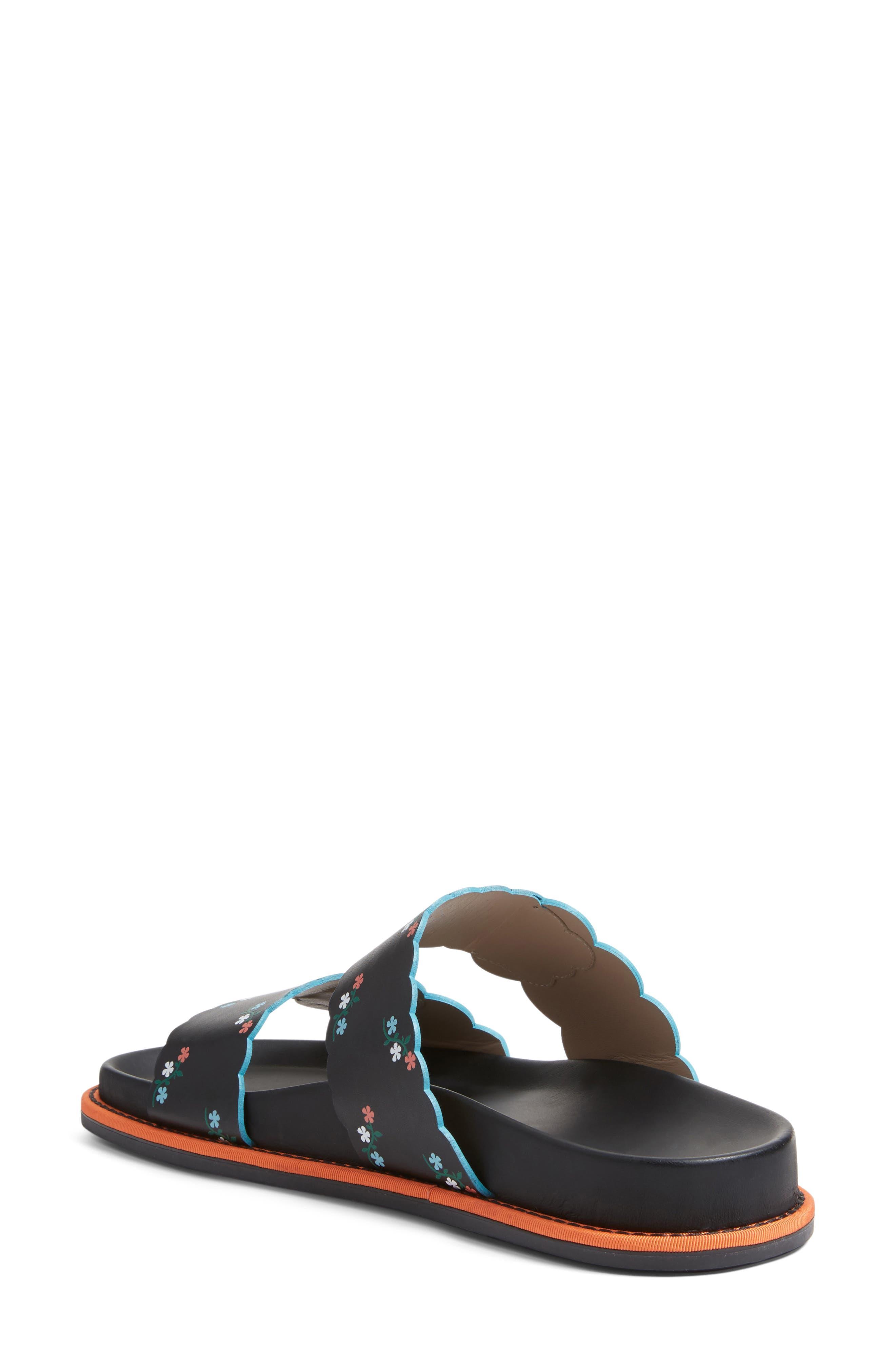 Scallop Slide Sandal,                             Alternate thumbnail 2, color,                             Black Floral