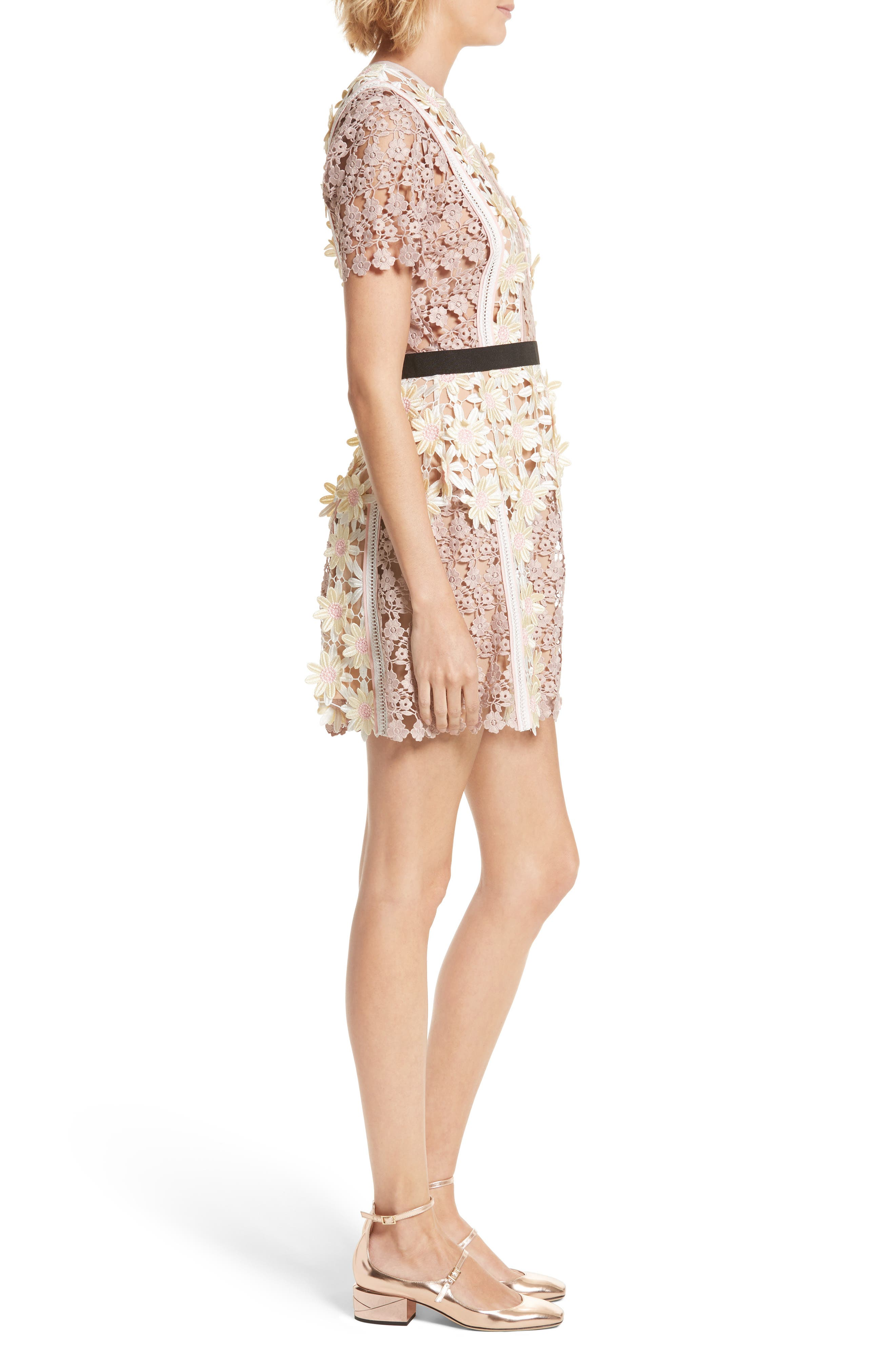 3D Floral Lace Peplum Dress,                             Alternate thumbnail 3, color,                             Multi