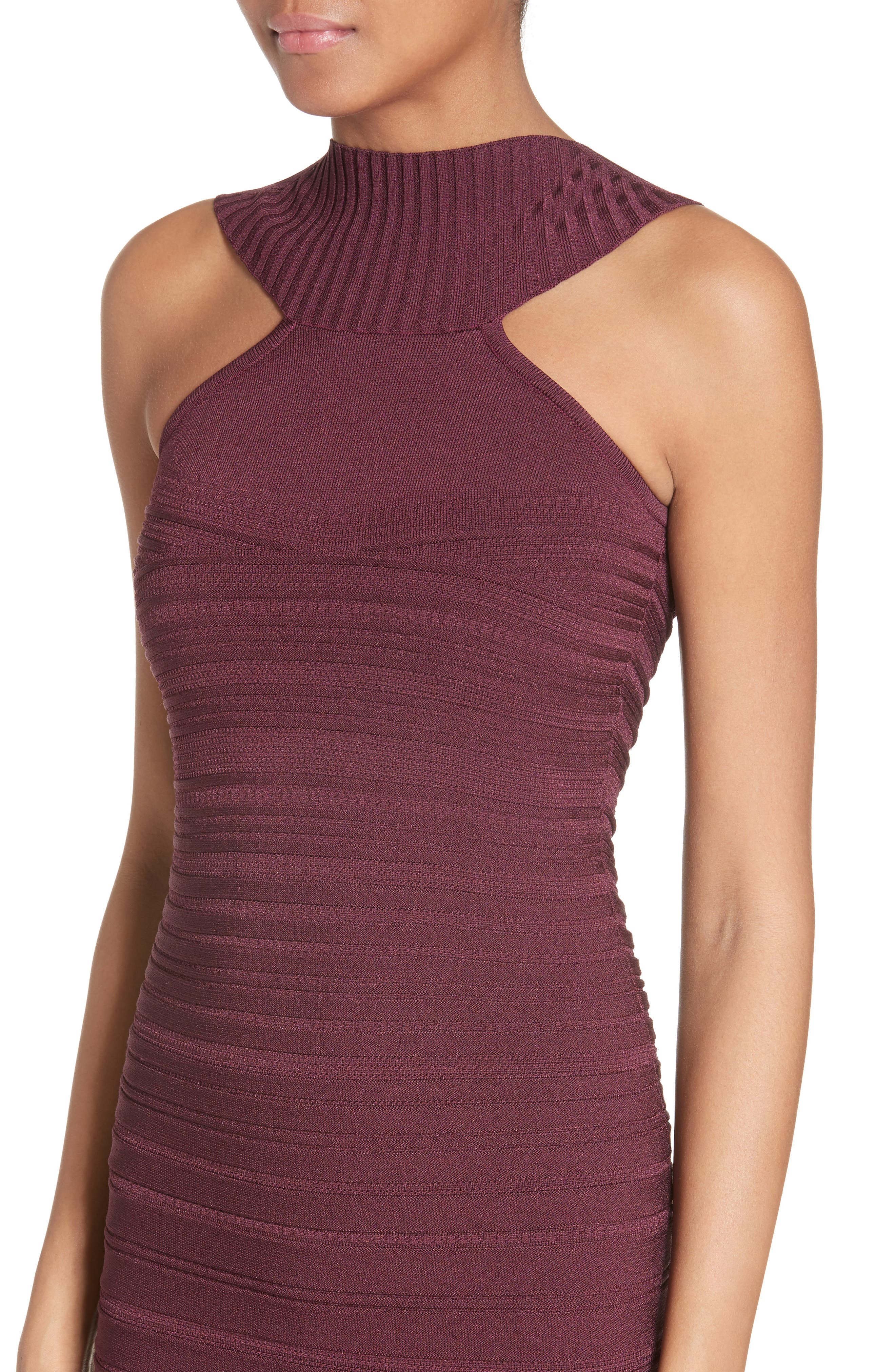 Knit High Neck Dress,                             Alternate thumbnail 5, color,                             Currant