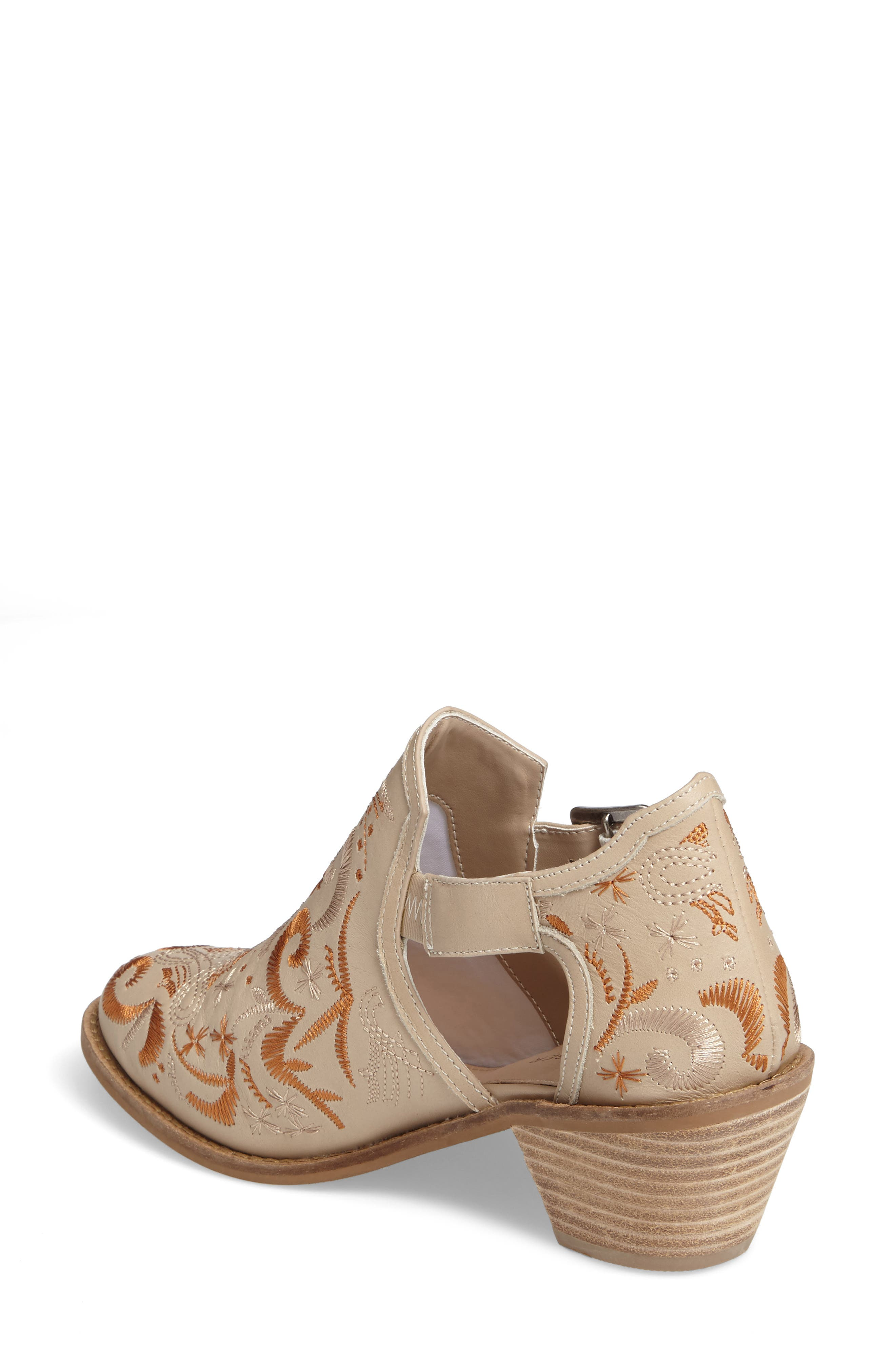 Kline Embroidered Bootie,                             Alternate thumbnail 2, color,                             Wheat Leather