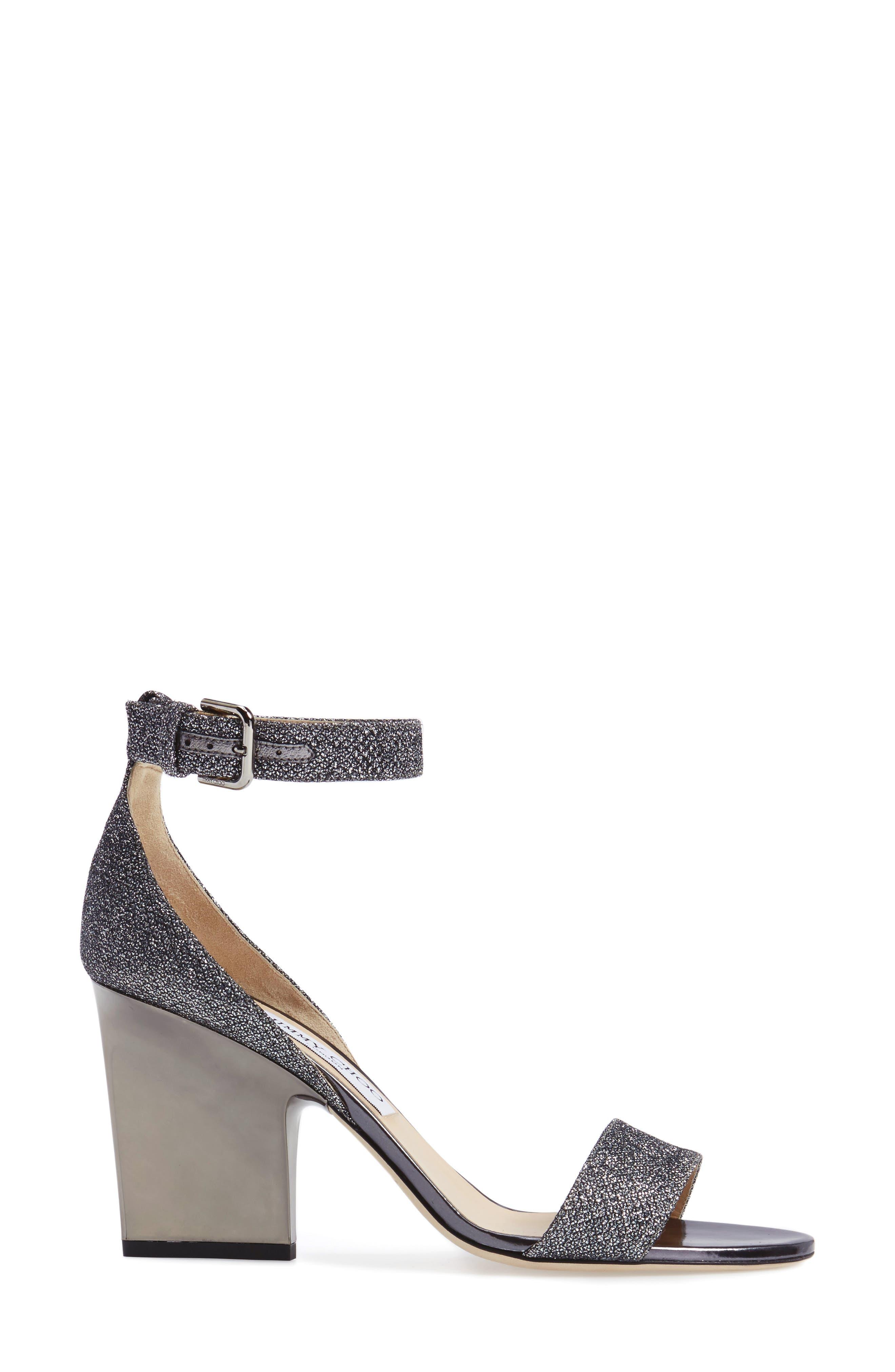 Edina Ankle Strap Sandal,                             Alternate thumbnail 3, color,                             Anthracite