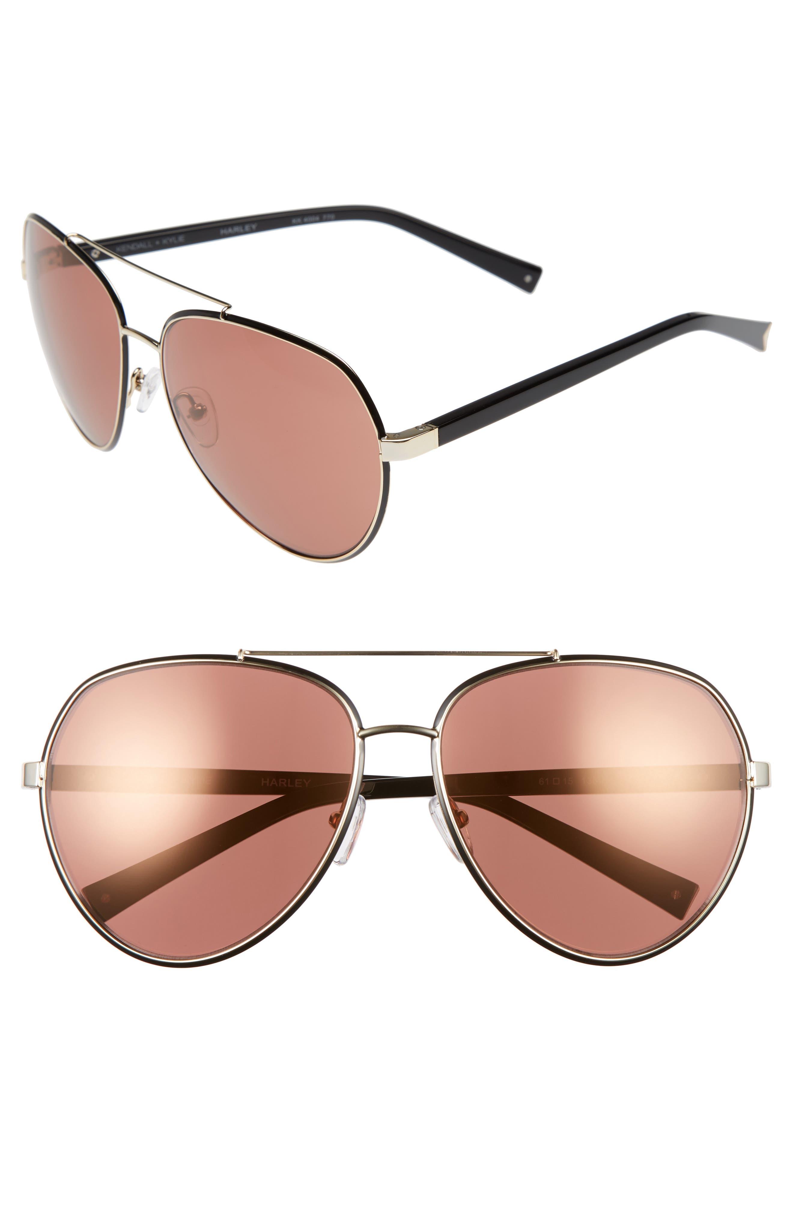 61mm Aviator Sunglasses,                             Main thumbnail 1, color,                             Shiny Gold/ Shiny Black