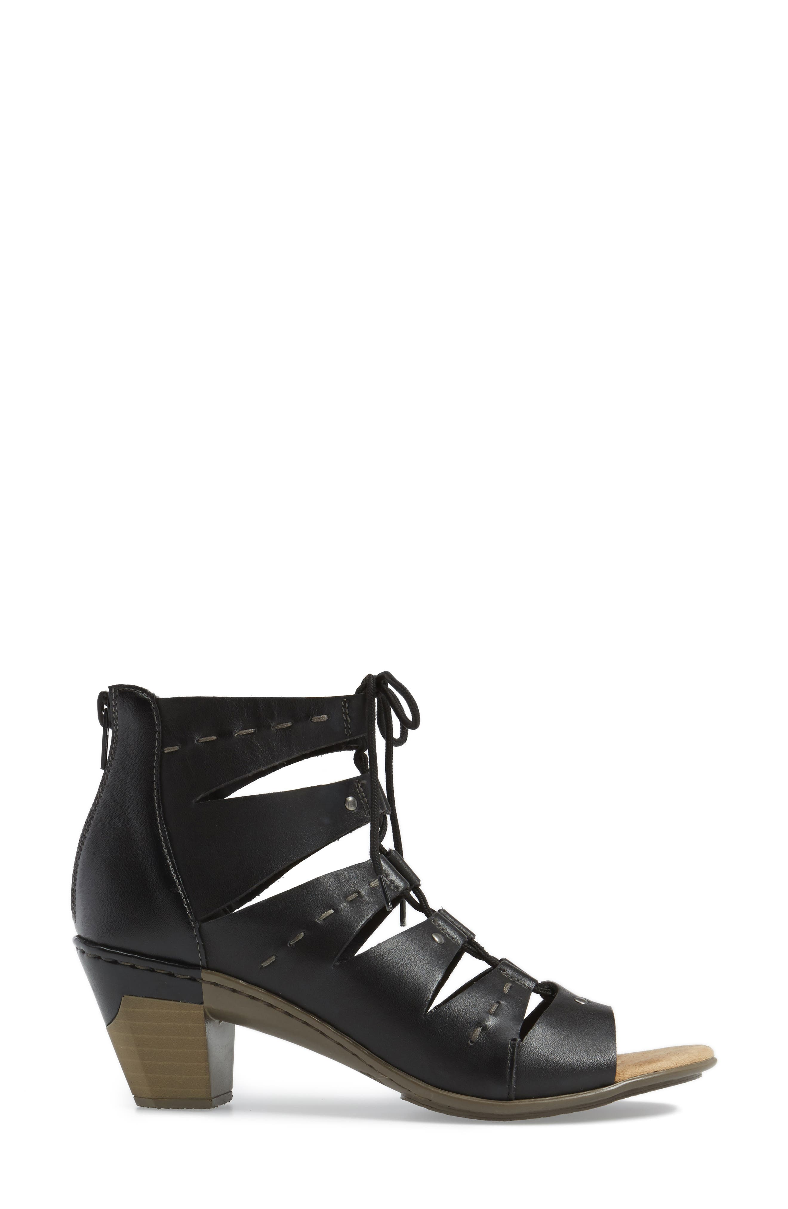 Aileen 99 Ghillie Cage Sandal,                             Alternate thumbnail 3, color,                             Black Leather