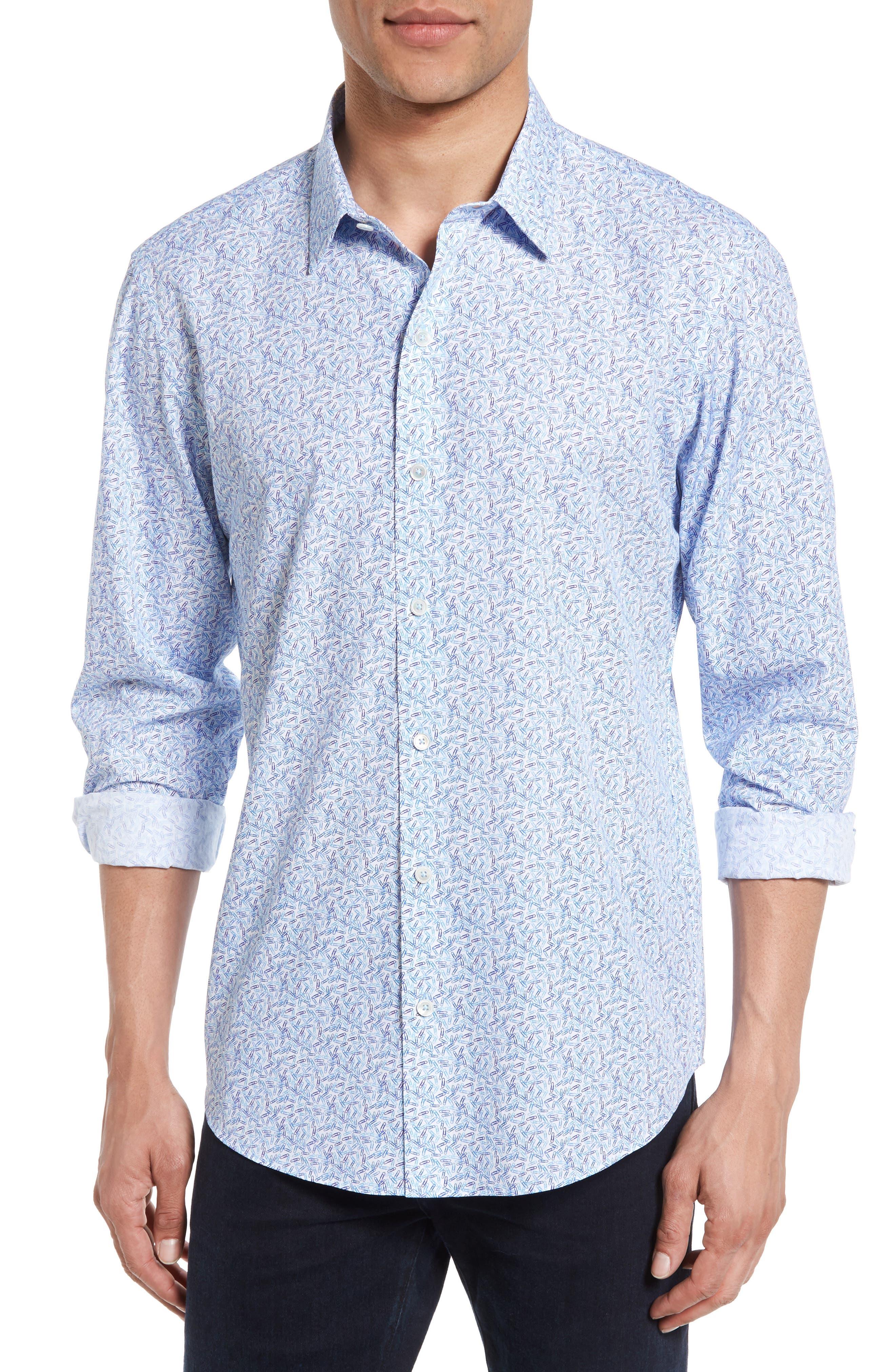 Munoz Print Sport Shirt,                         Main,                         color, Azure