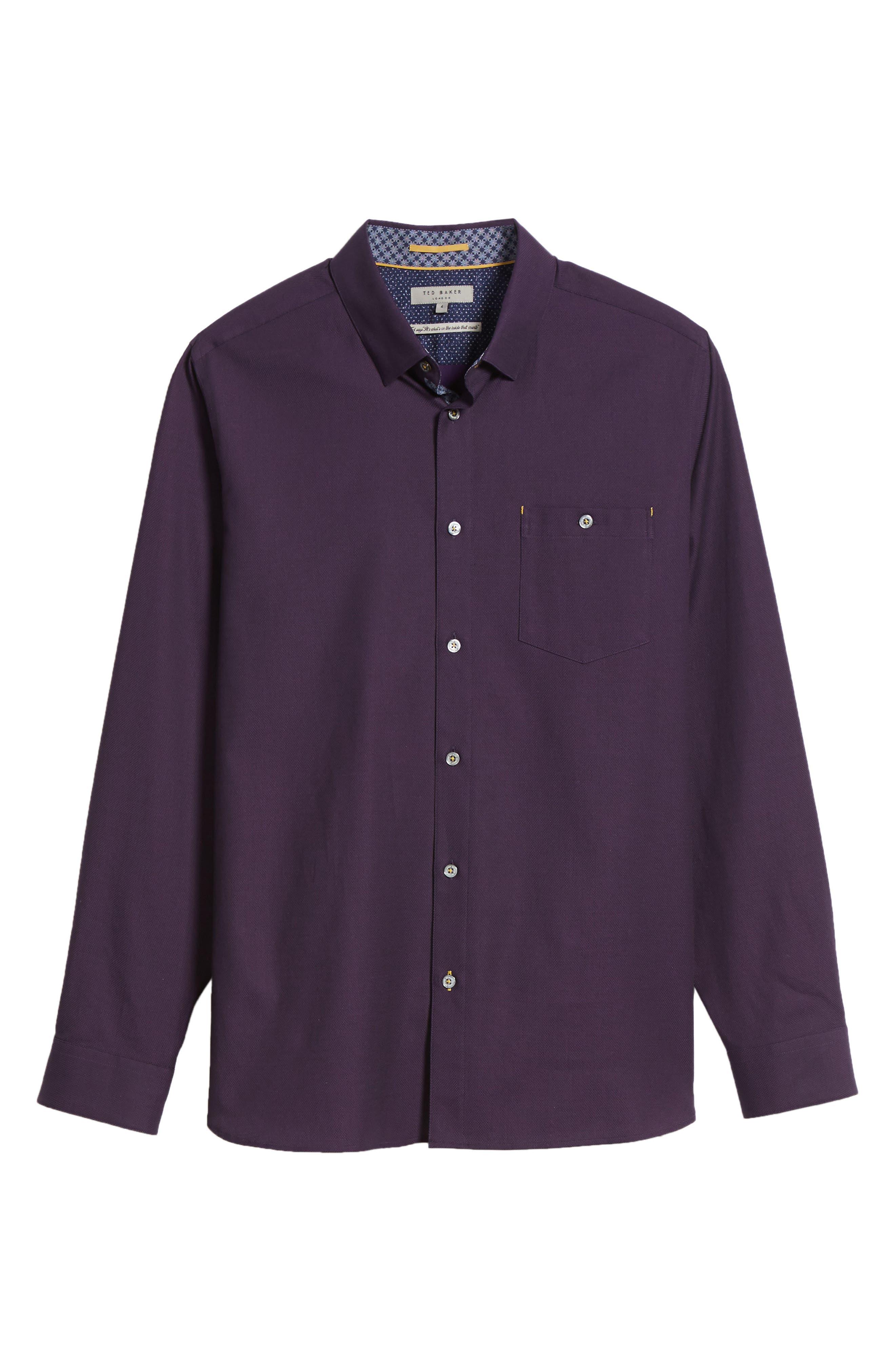 Nordlux Modern Slim Fit Stretch Cotton Sport Shirt,                             Alternate thumbnail 6, color,                             Deep Purple