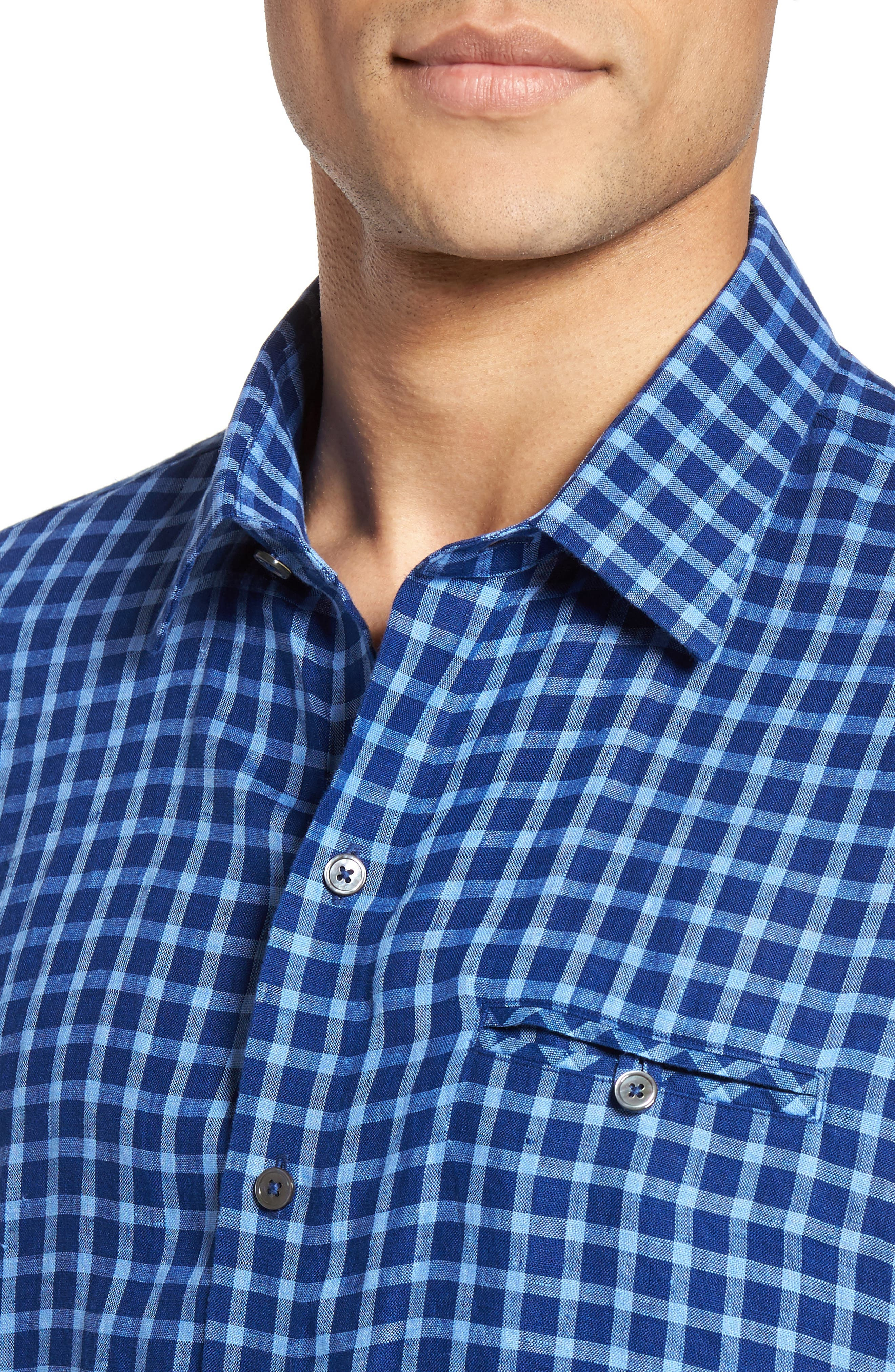 Ray Plaid Linen Sport Shirt,                             Alternate thumbnail 4, color,                             Pacific