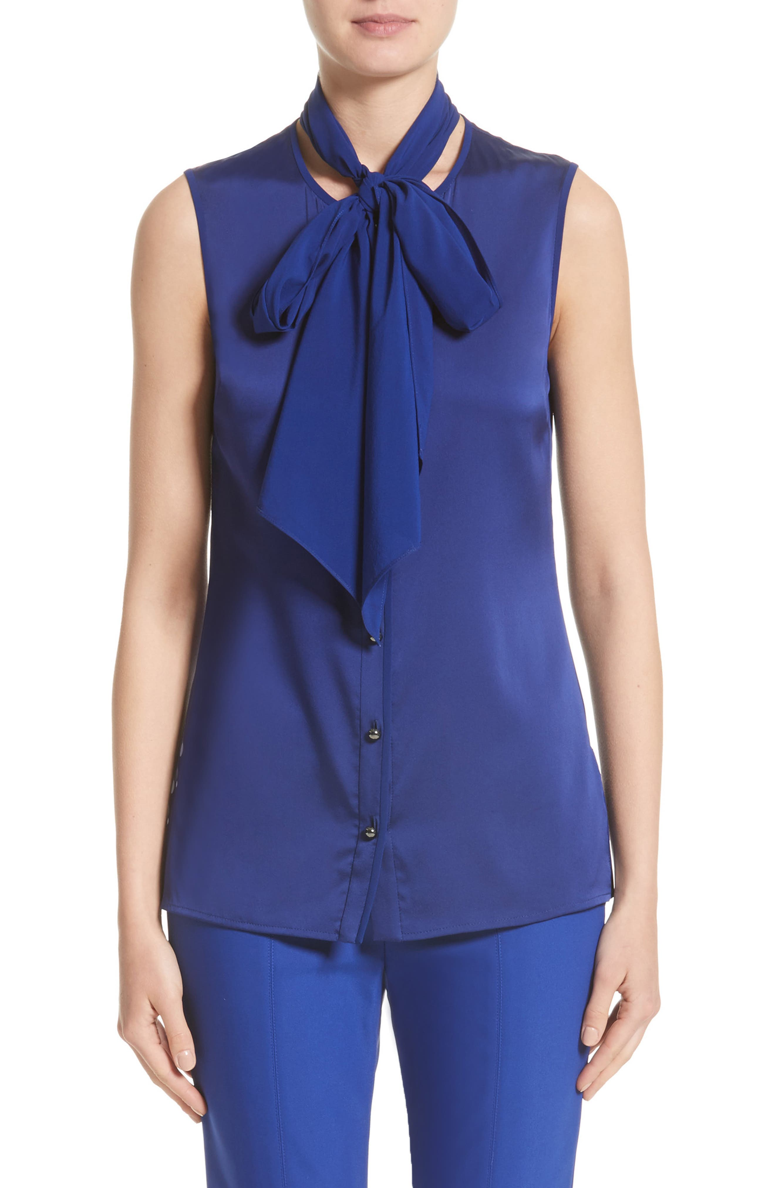 Removable Tie Stretch Silk Satin Georgette Blouse,                         Main,                         color, Lazuli