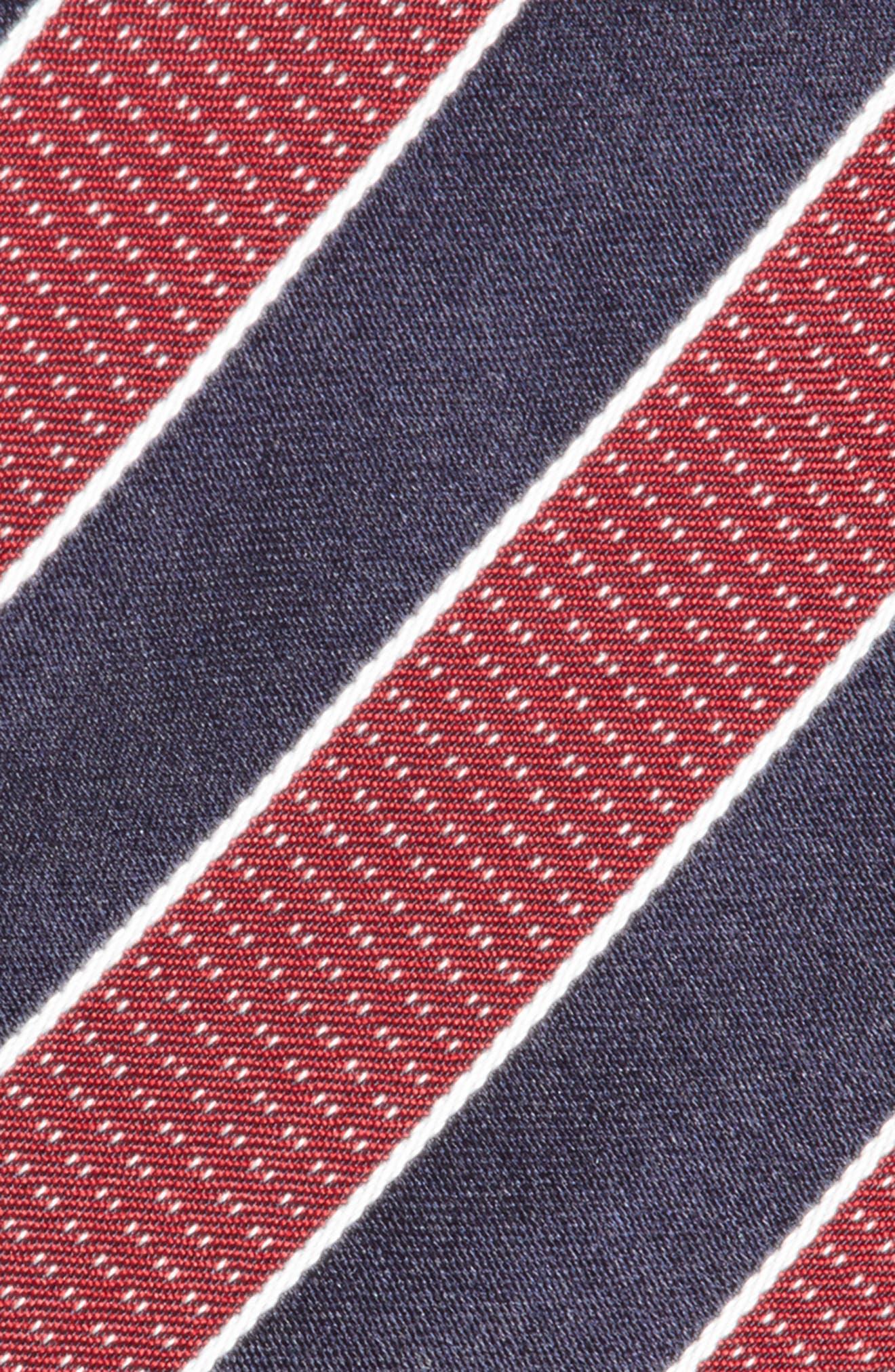 Stripe Silk Tie,                             Alternate thumbnail 2, color,                             Medium Red