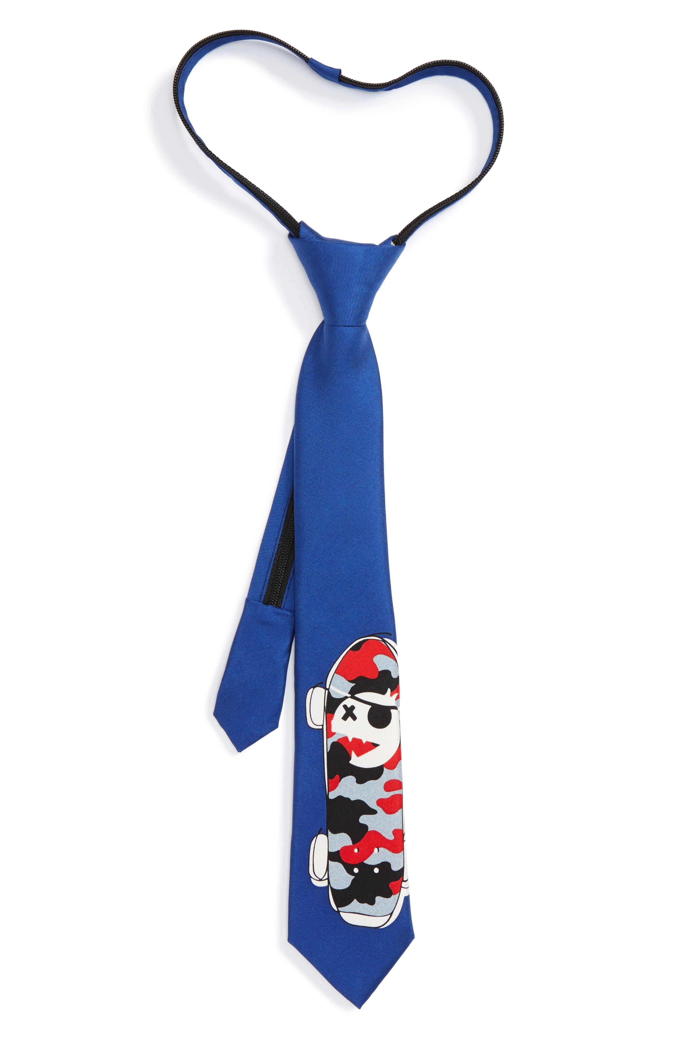 Ship Print Silk Zipper Tie,                         Main,                         color, Red Conversational