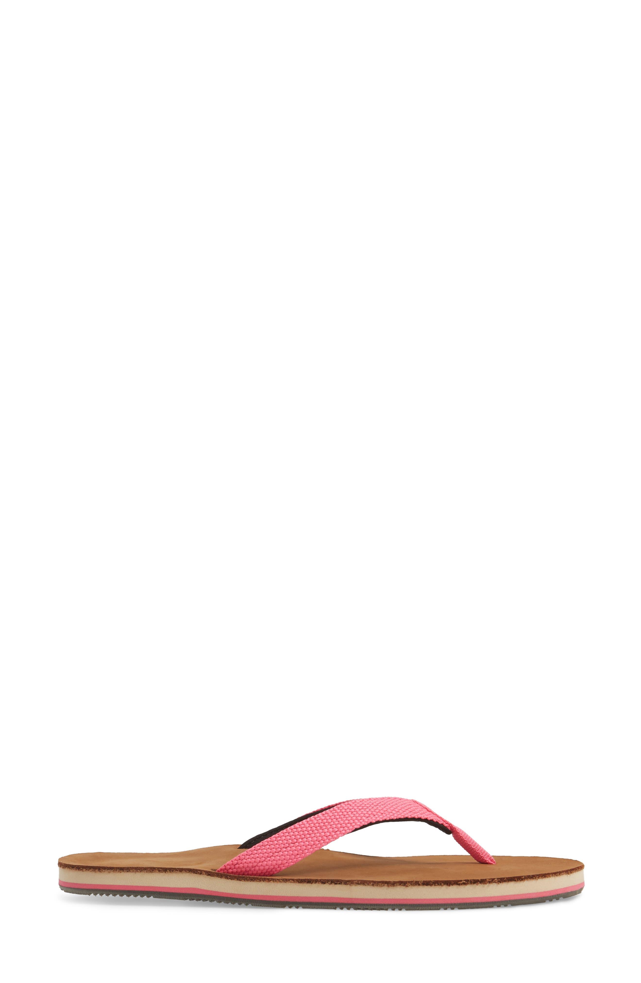 Scouts Flip Flop,                             Alternate thumbnail 3, color,                             Neon Pink/ Black