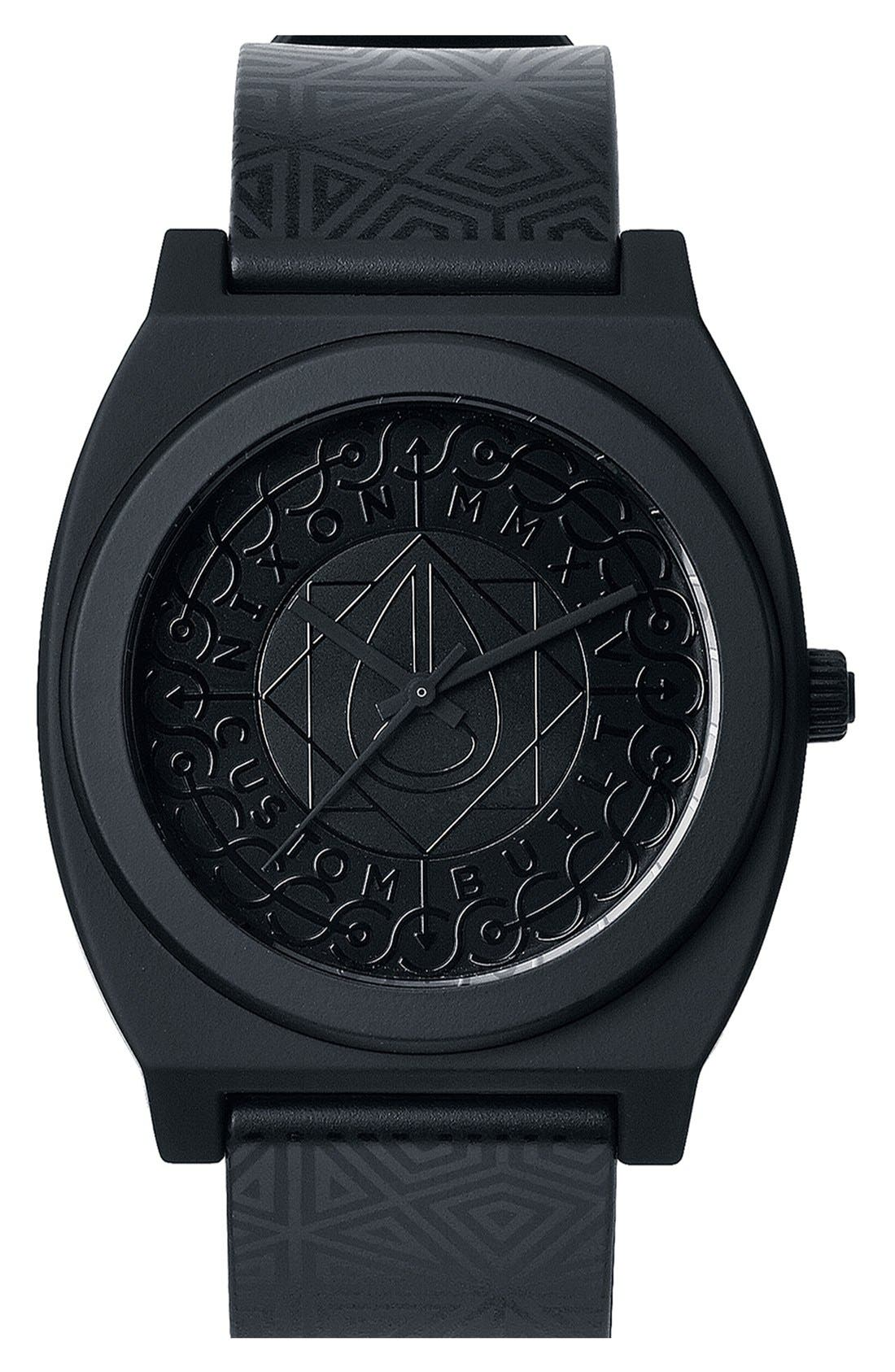 Main Image - Nixon 'The Time Teller P' Textured Dial Print Strap Watch, 40mm