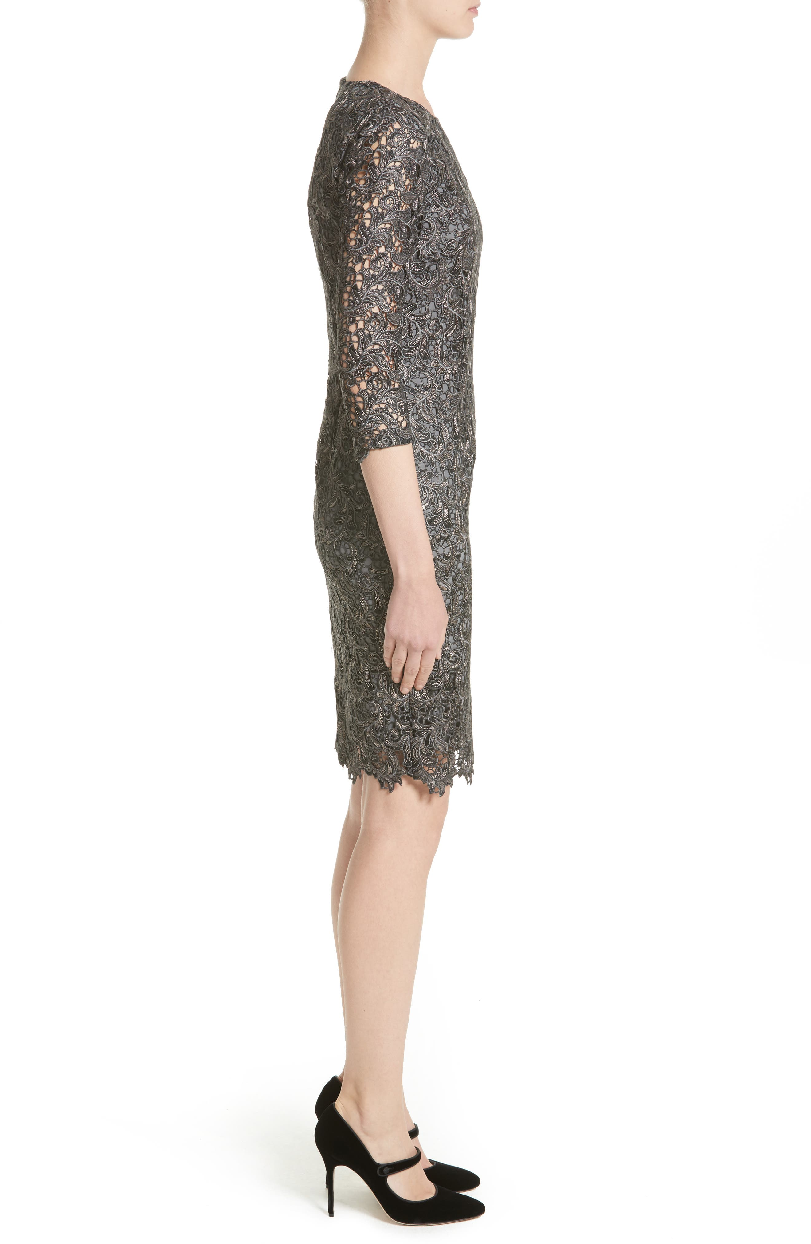 Plume Embroidered Lace Dress,                             Alternate thumbnail 3, color,                             Charcoal Multi