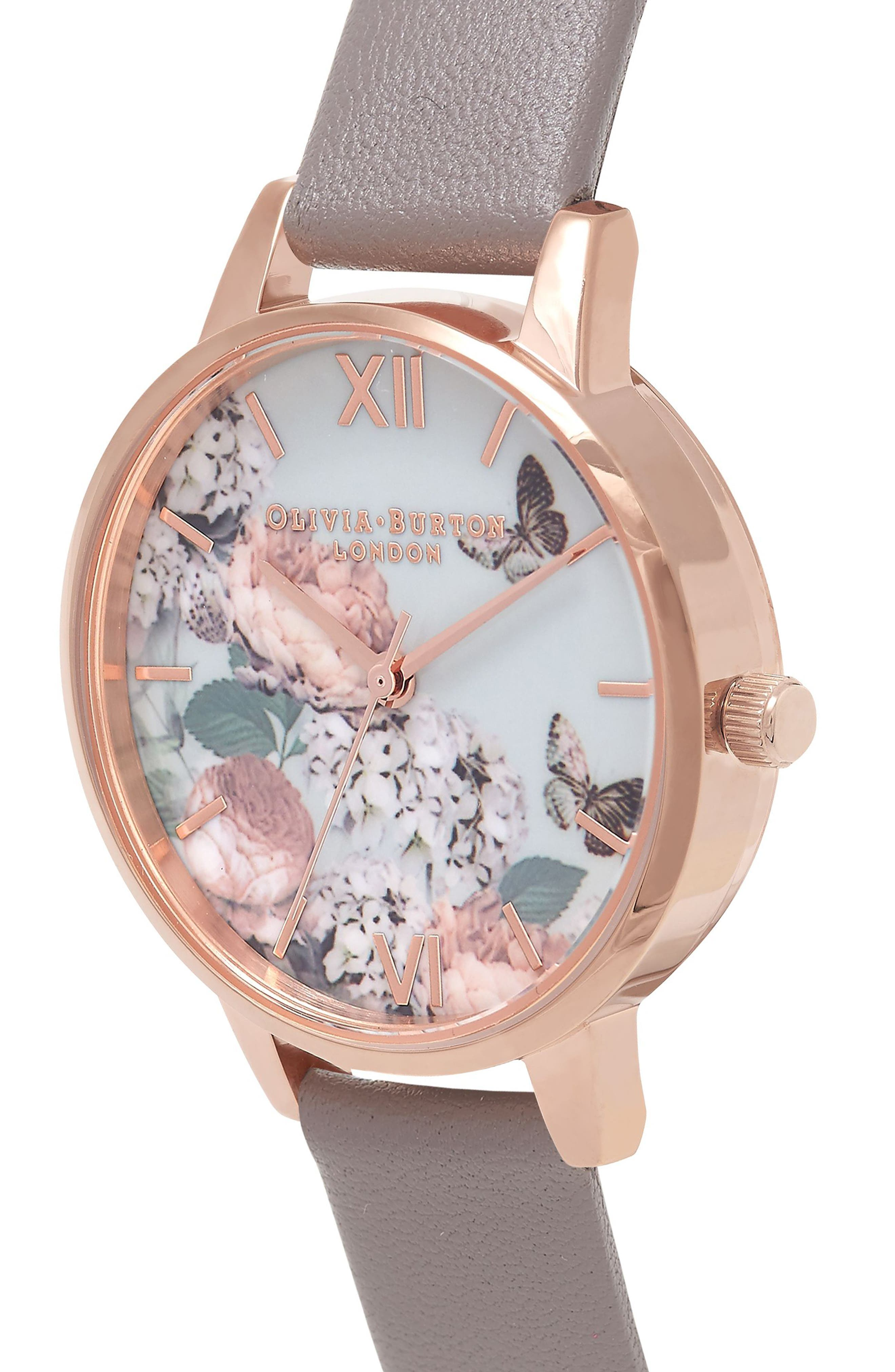 Enchanted Garden Leather Strap Watch, 30mm,                             Alternate thumbnail 3, color,                             Grey/ Floral/ Rose Gold