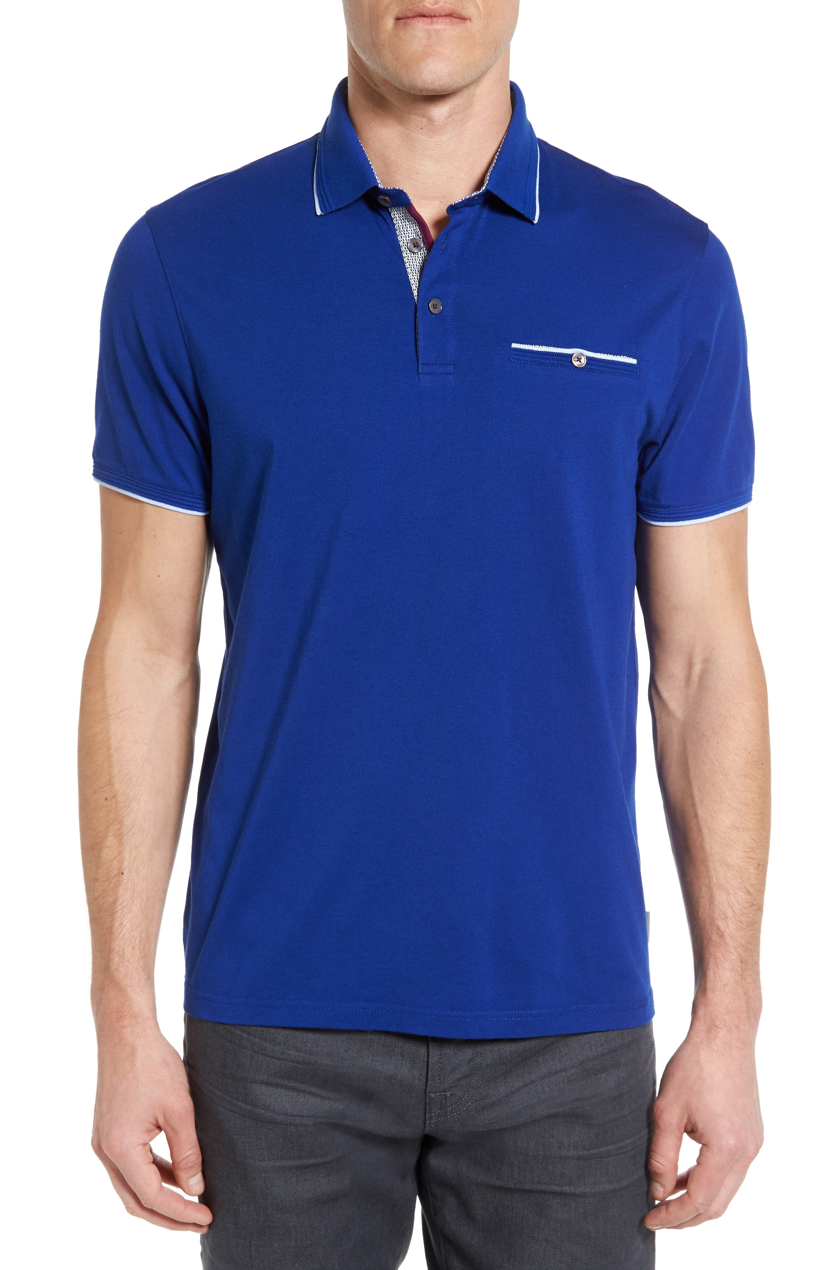 Derry Modern Slim Fit Polo,                         Main,                         color, Mid Blue