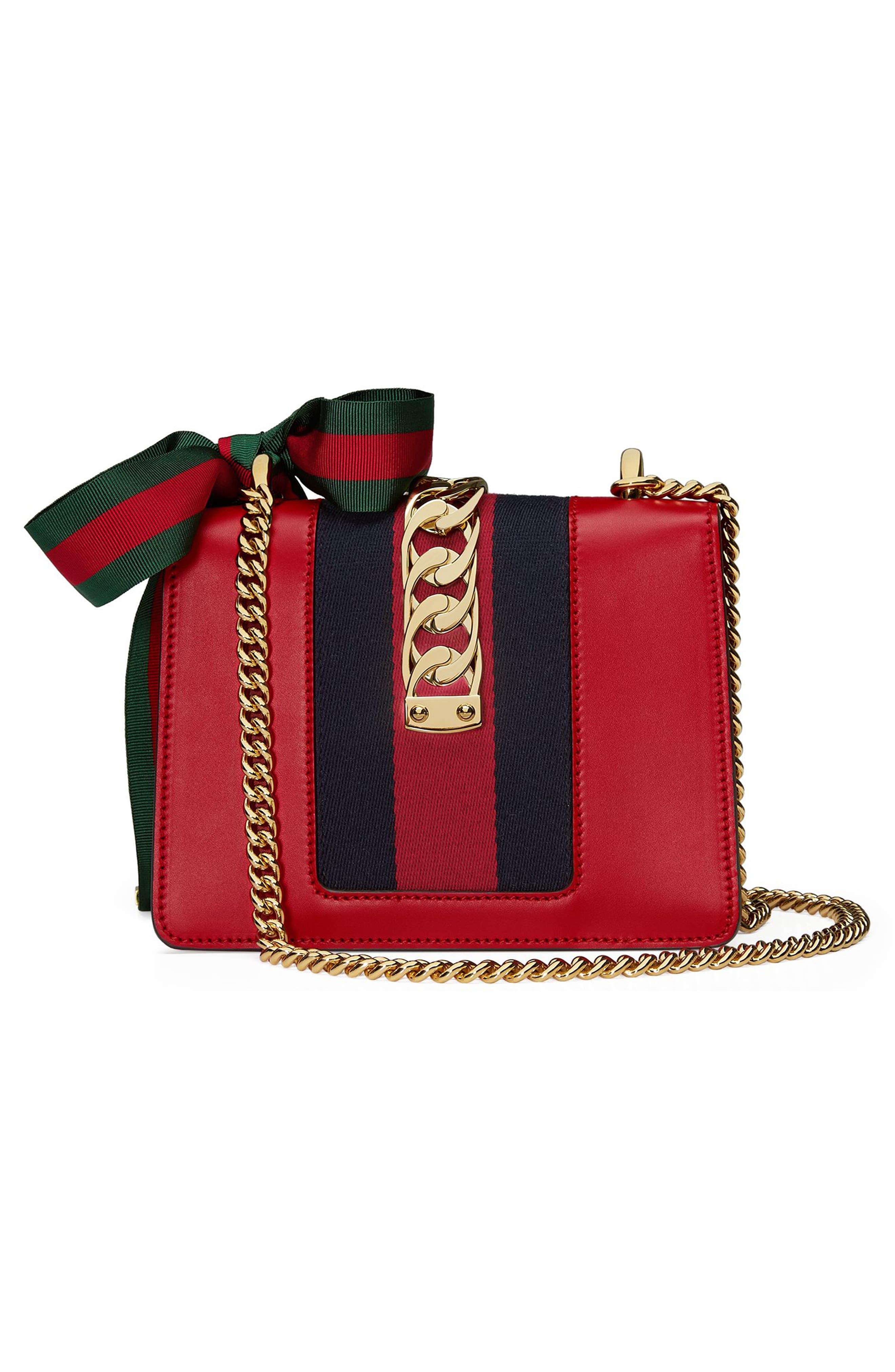 Mini Sylvie Leather Shoulder Bag,                             Alternate thumbnail 2, color,                             Hibiscus Red