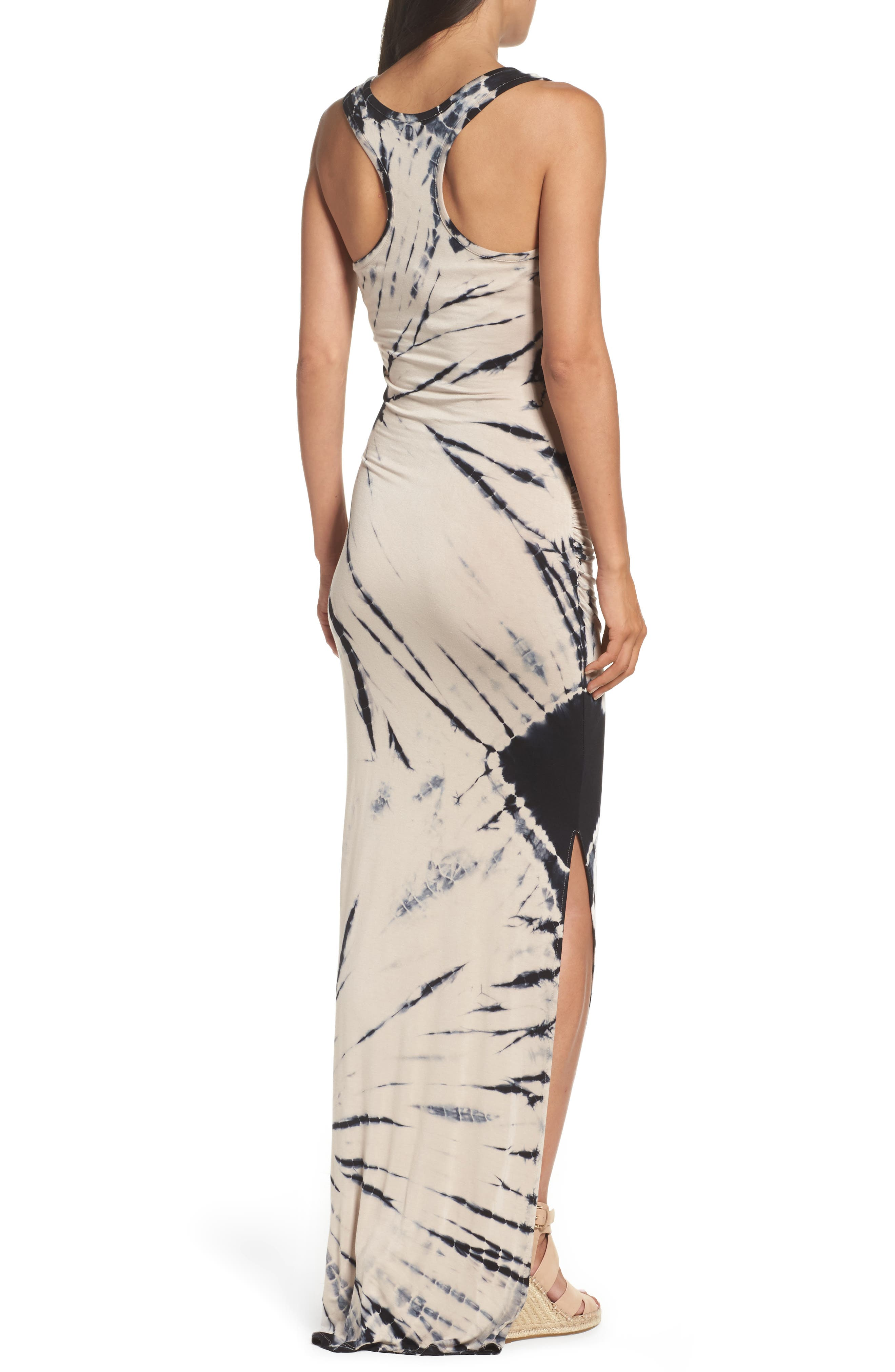 Tie Dye Tank Maxi Dress,                             Alternate thumbnail 2, color,                             Black