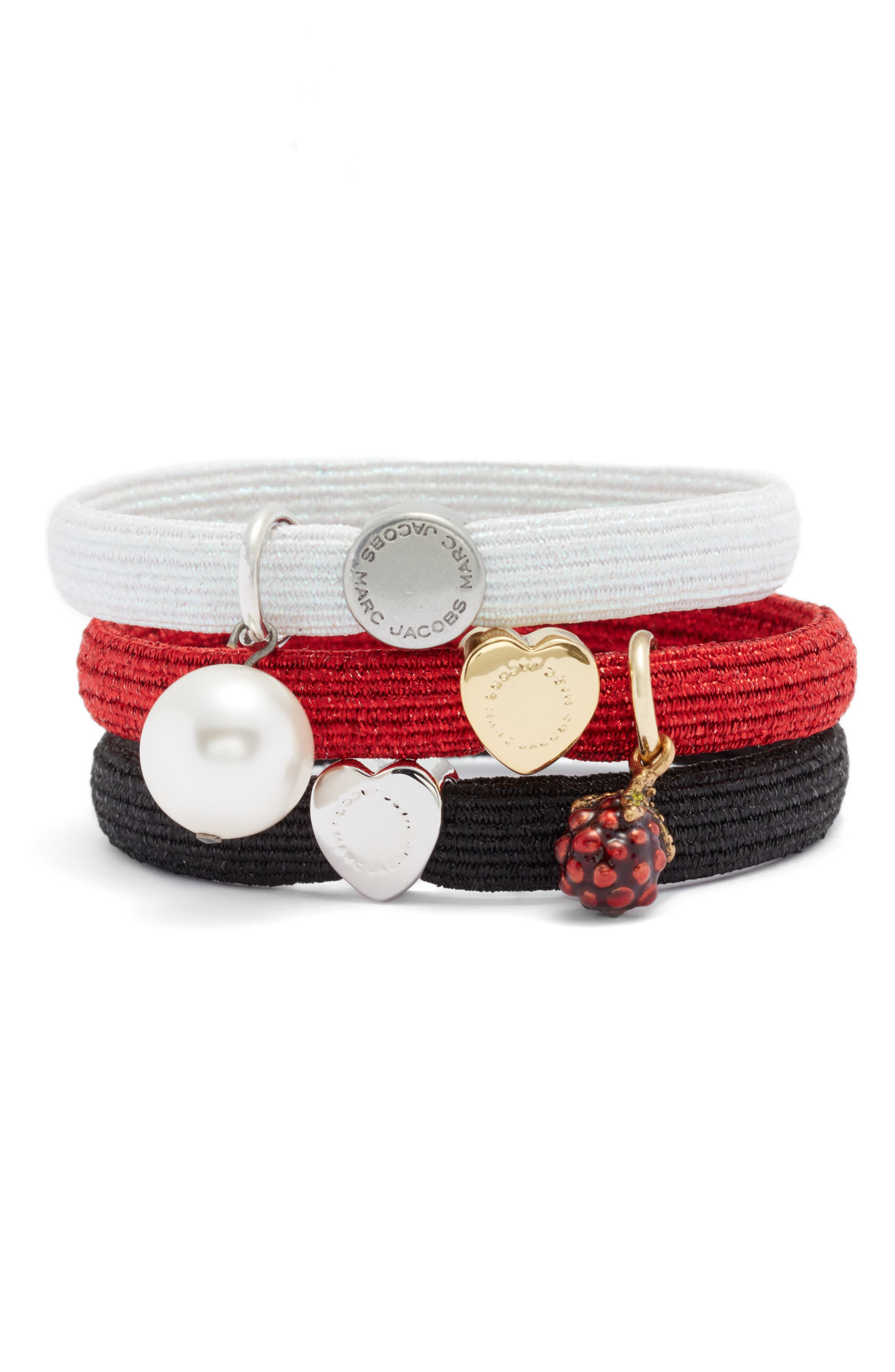 MARC JACOBS MARC BY MARC JACOBS Set of 3 Charm Ponytail Holders