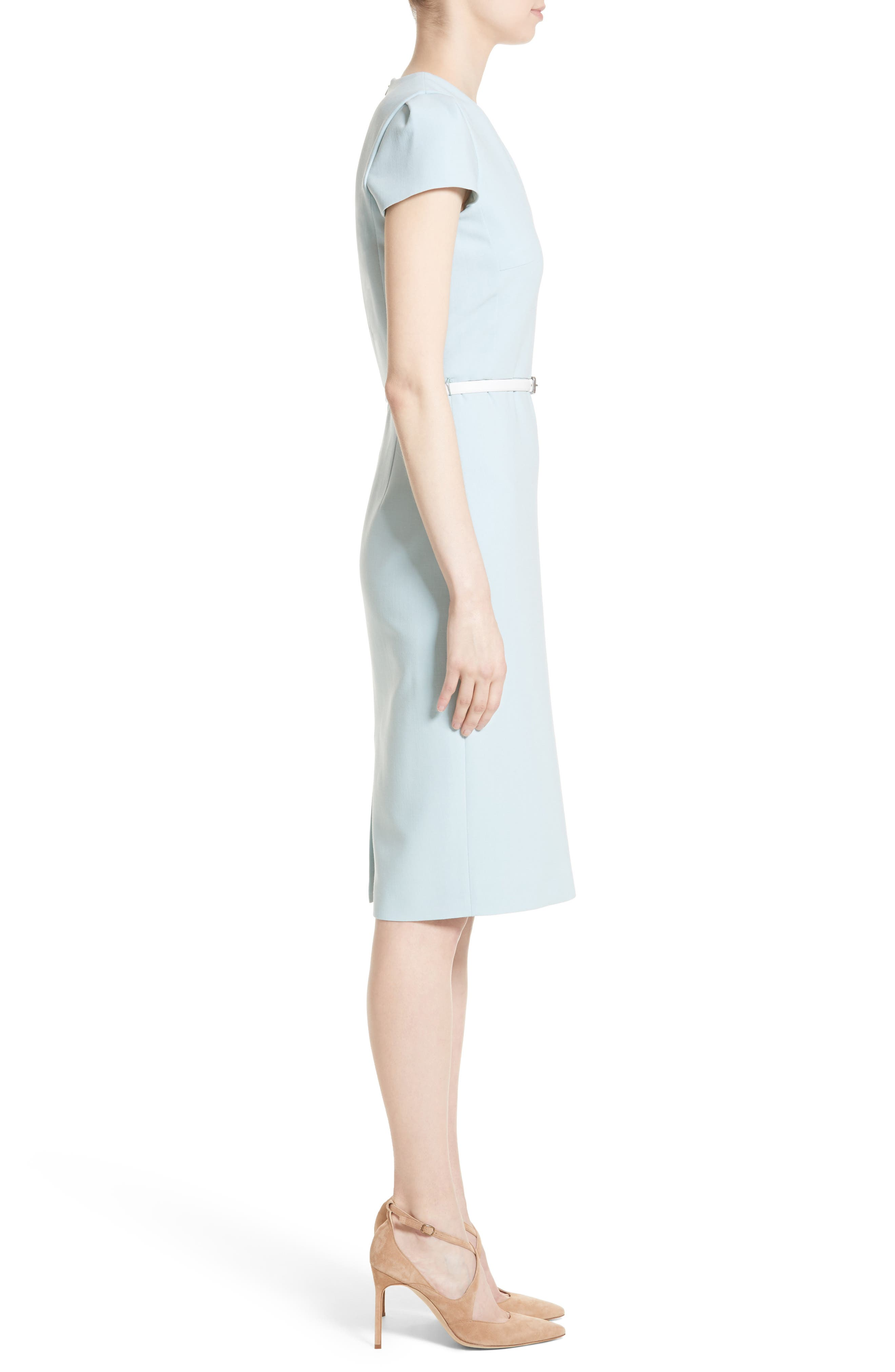 Teorema Belted Sheath Dress,                             Alternate thumbnail 5, color,                             Water