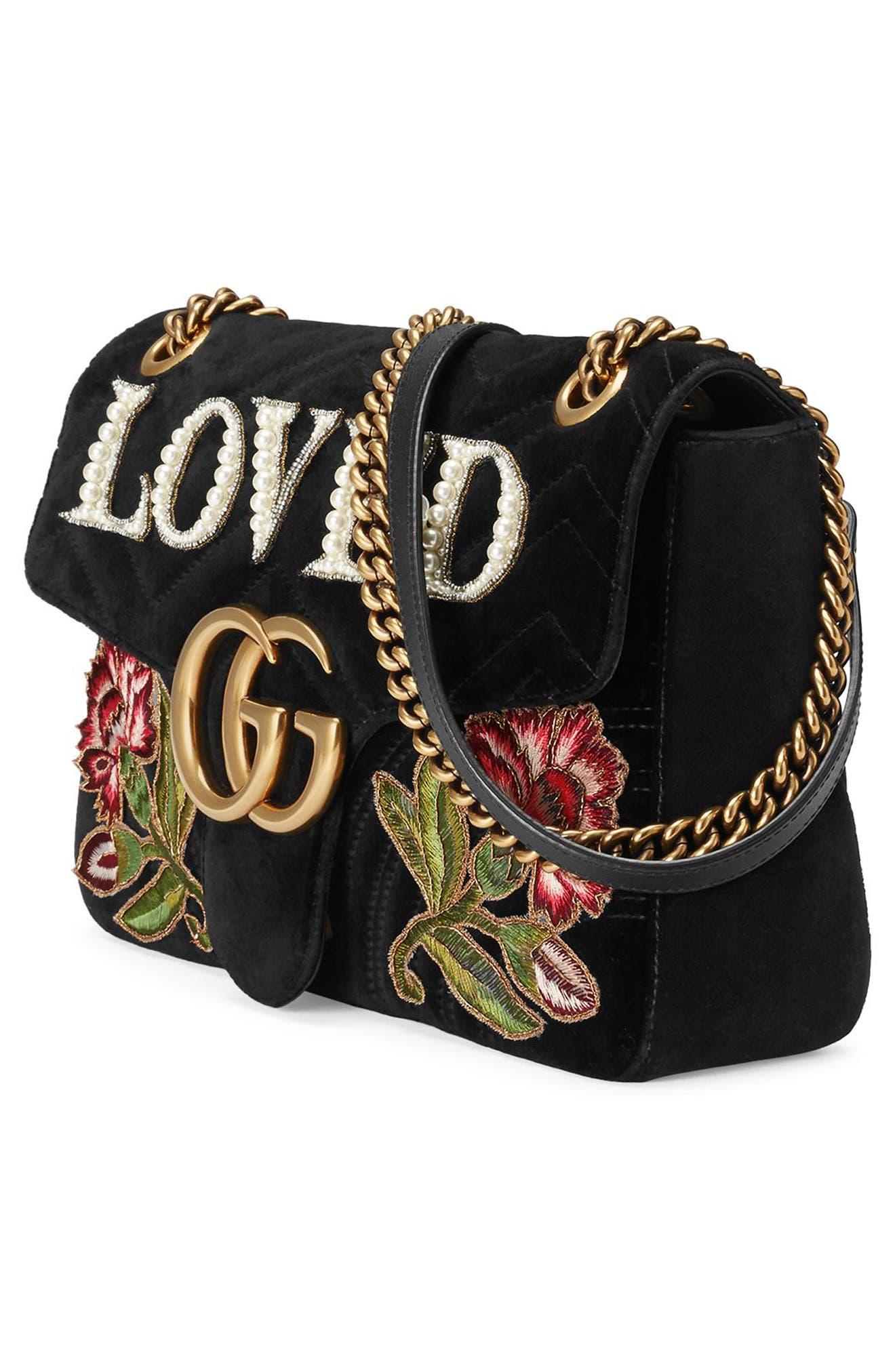 GG Marmont Loved Velvet Shoulder Bag,                             Alternate thumbnail 4, color,                             Nero Multi