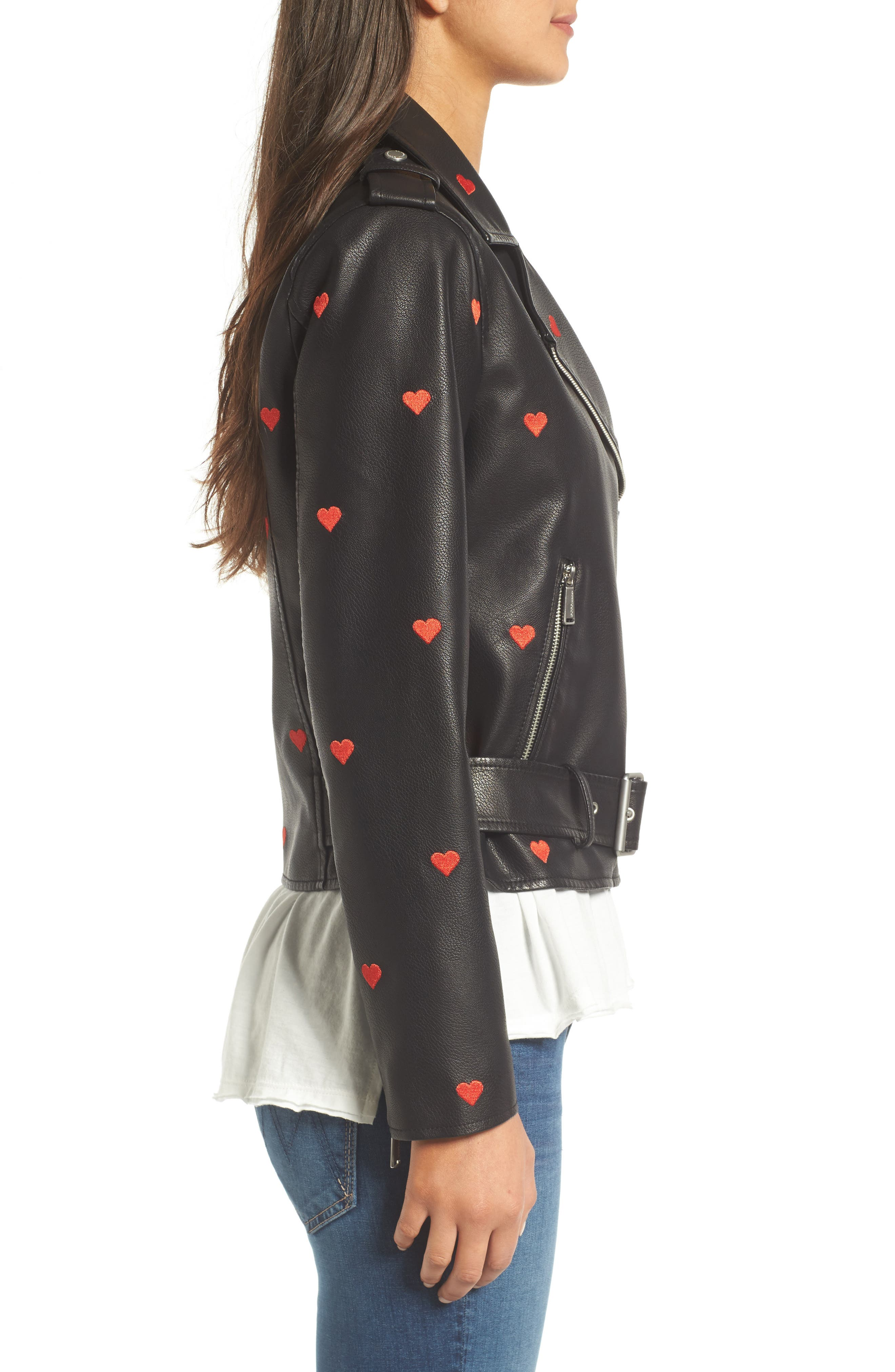 Heart Embroidered Faux Leather Moto Jacket,                             Alternate thumbnail 3, color,                             Black