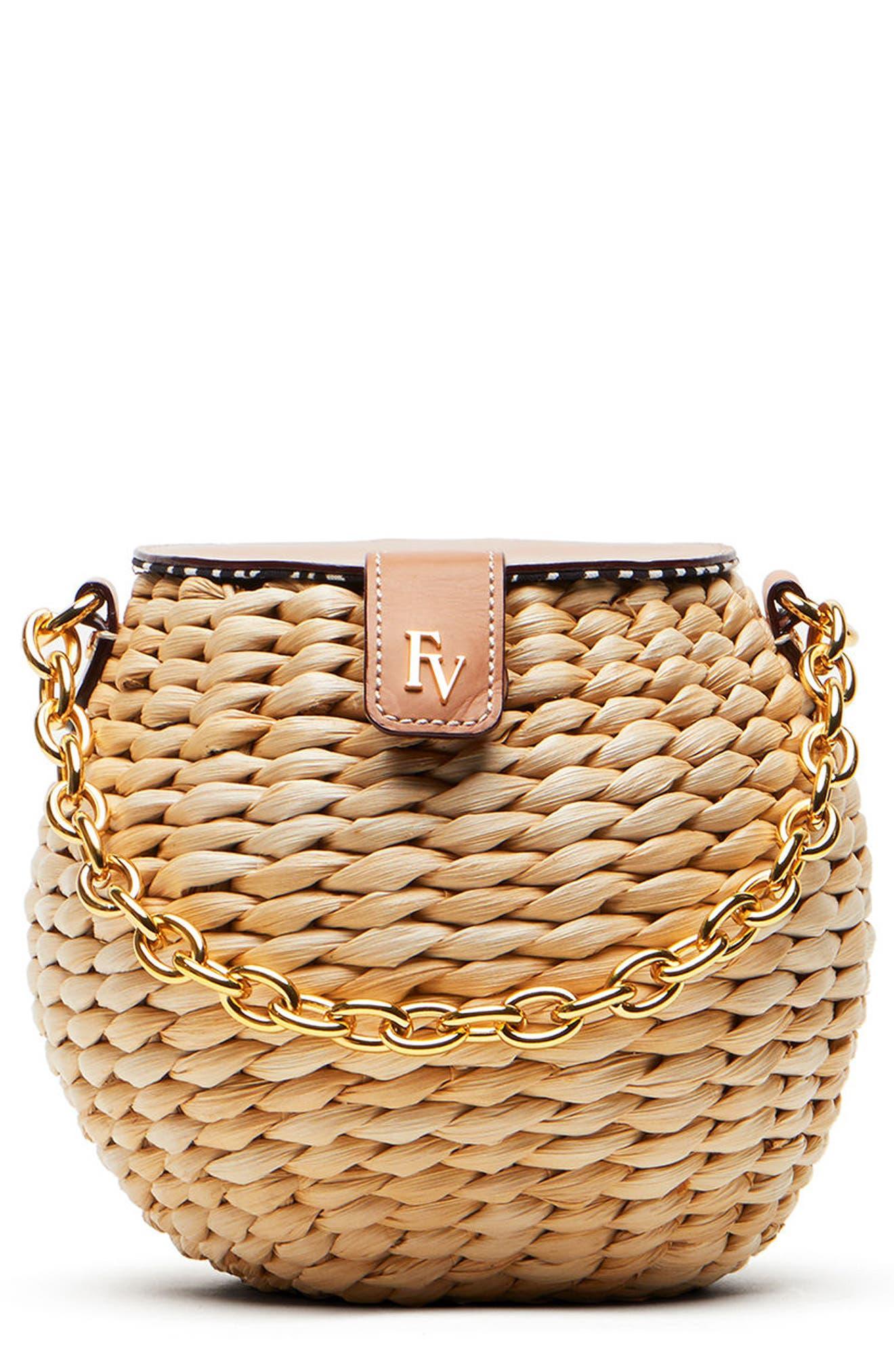Main Image - Frances Valentine Mini Woven Bucket Bag