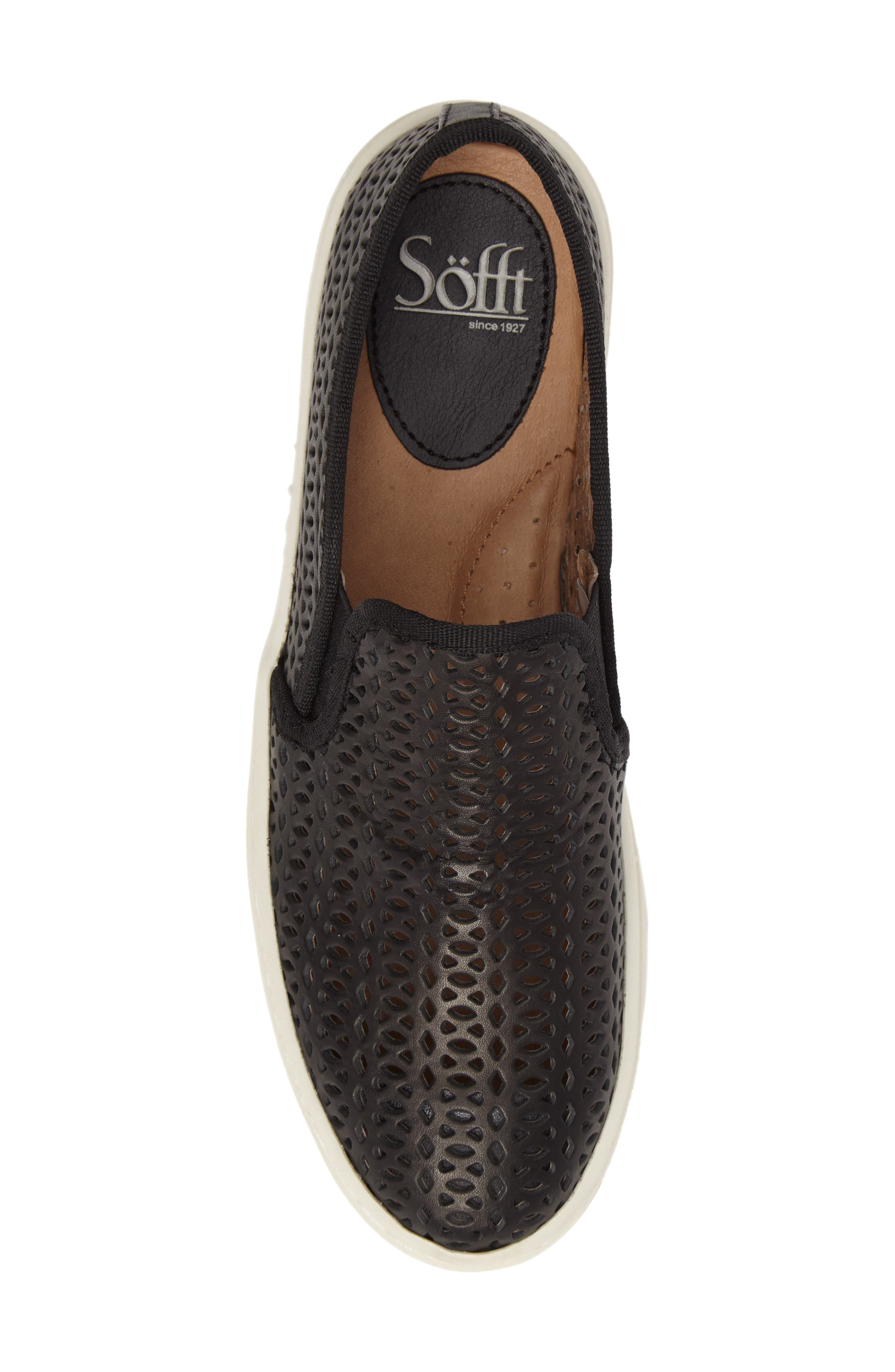 Somers II Slip-on Sneaker,                             Alternate thumbnail 5, color,                             Black Perforated Leather