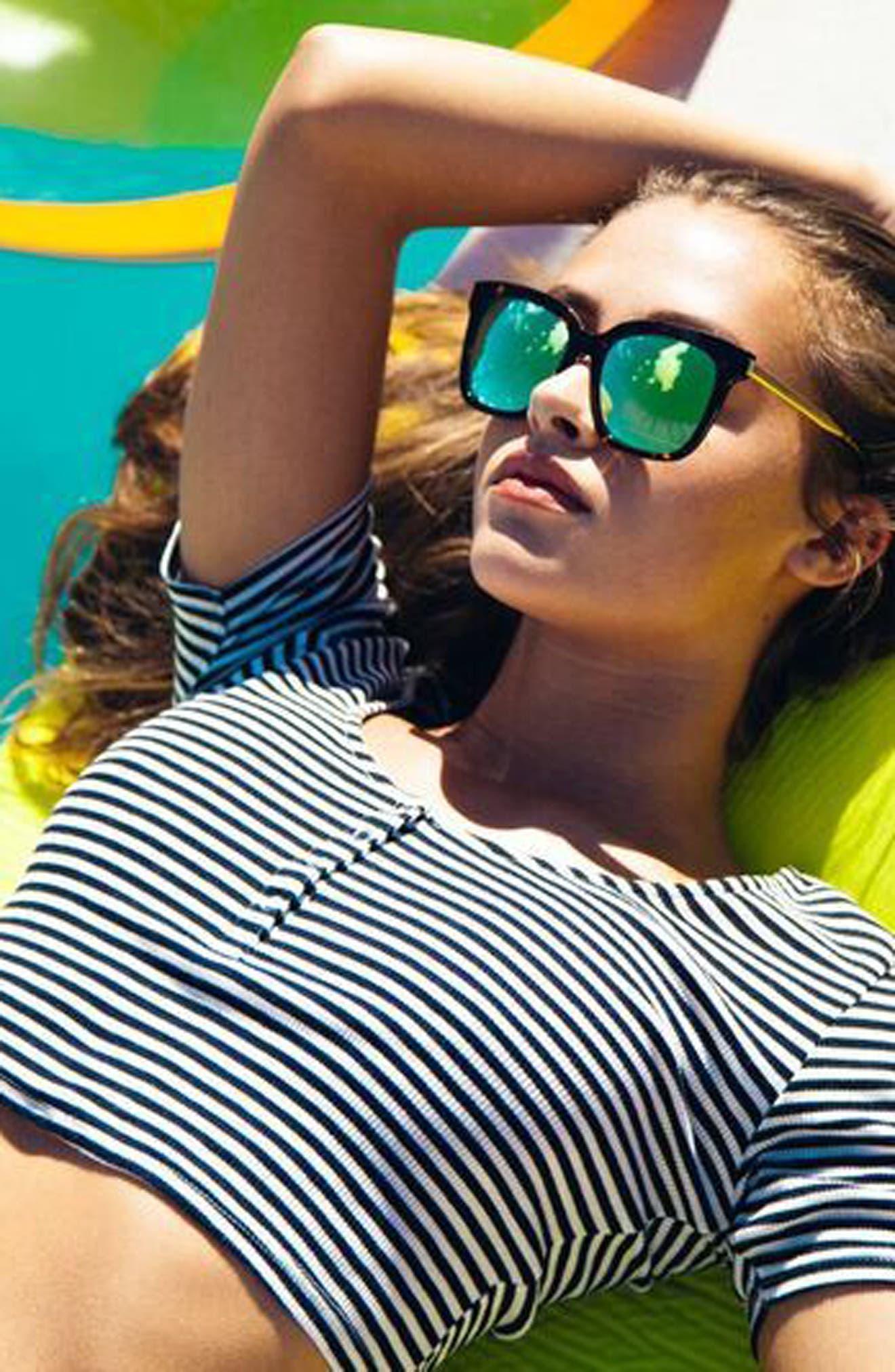 Bella 52mm Polarized Sunglasses,                             Alternate thumbnail 5, color,                             Tortoise/ Blue