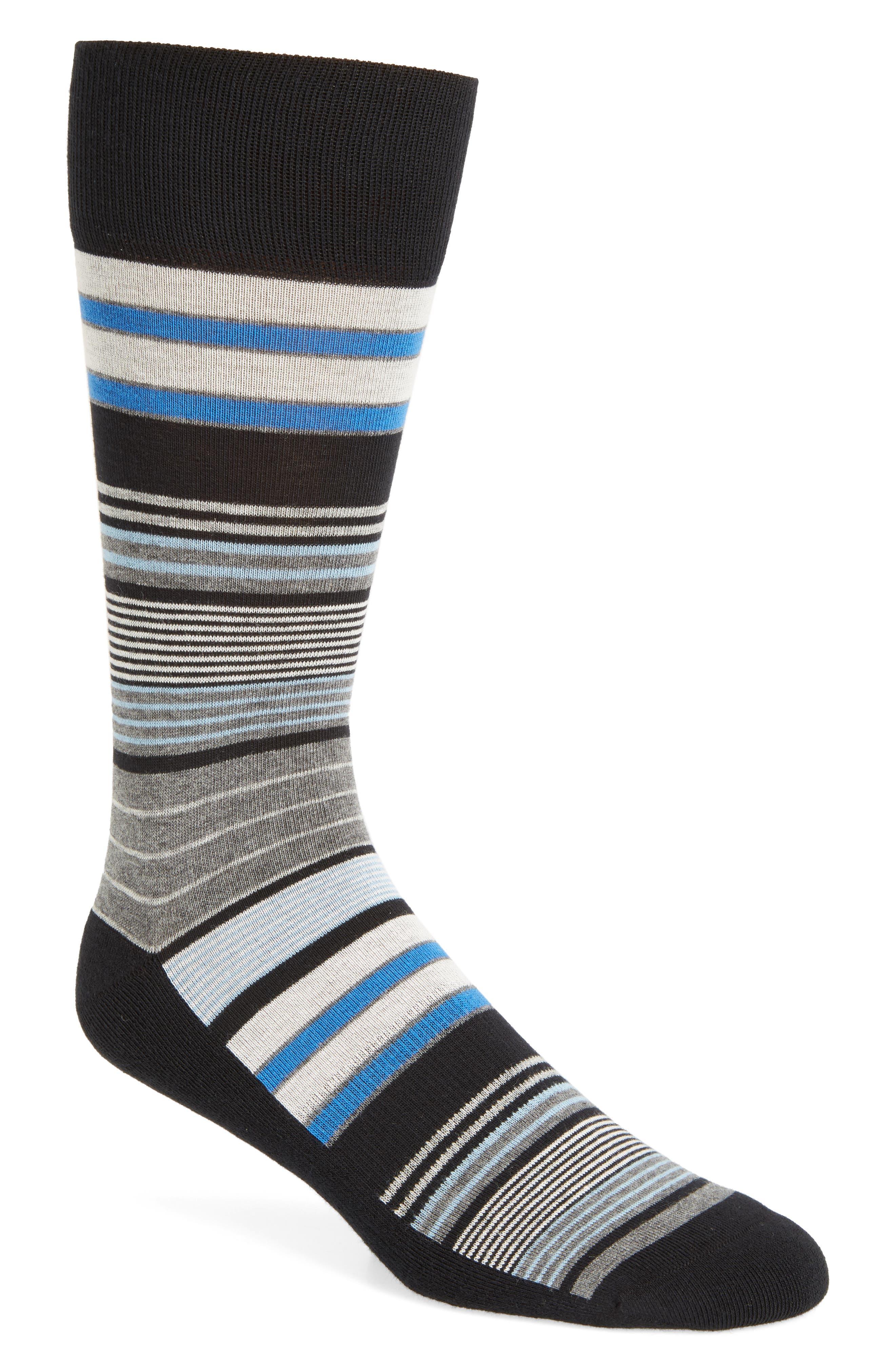 Random Stripe Socks,                             Main thumbnail 1, color,                             Black
