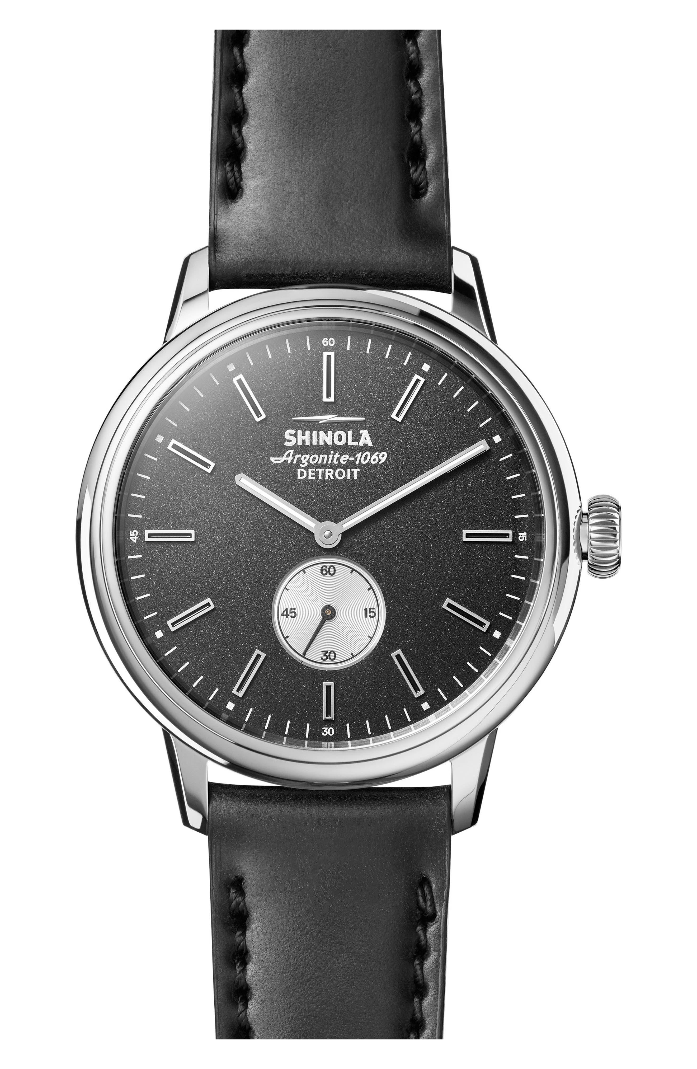 Bedrock Leather Strap Watch, 42mm,                         Main,                         color, Black