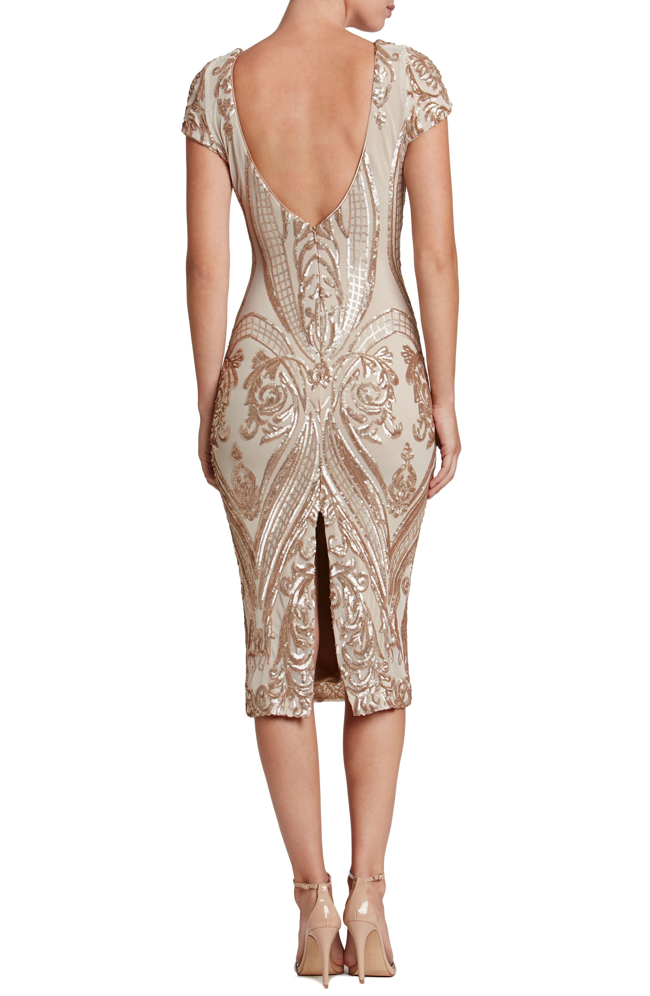 Brandi Sequin Body-Con Dress,                             Alternate thumbnail 3, color,                             Champagne/ Nude