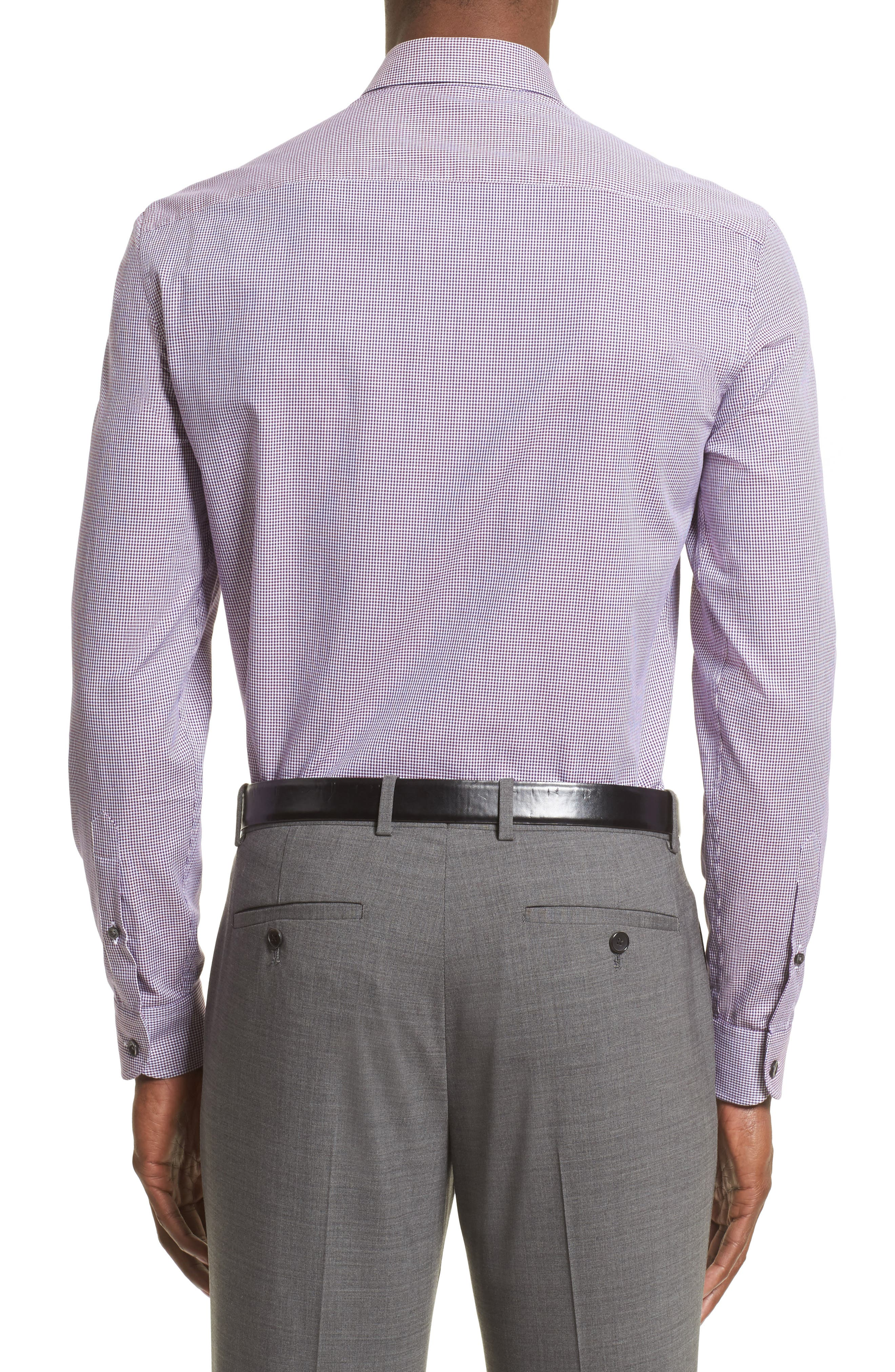 Regular Fit Houndstooth Sport Shirt,                             Alternate thumbnail 3, color,                             Anthracite/ Purple