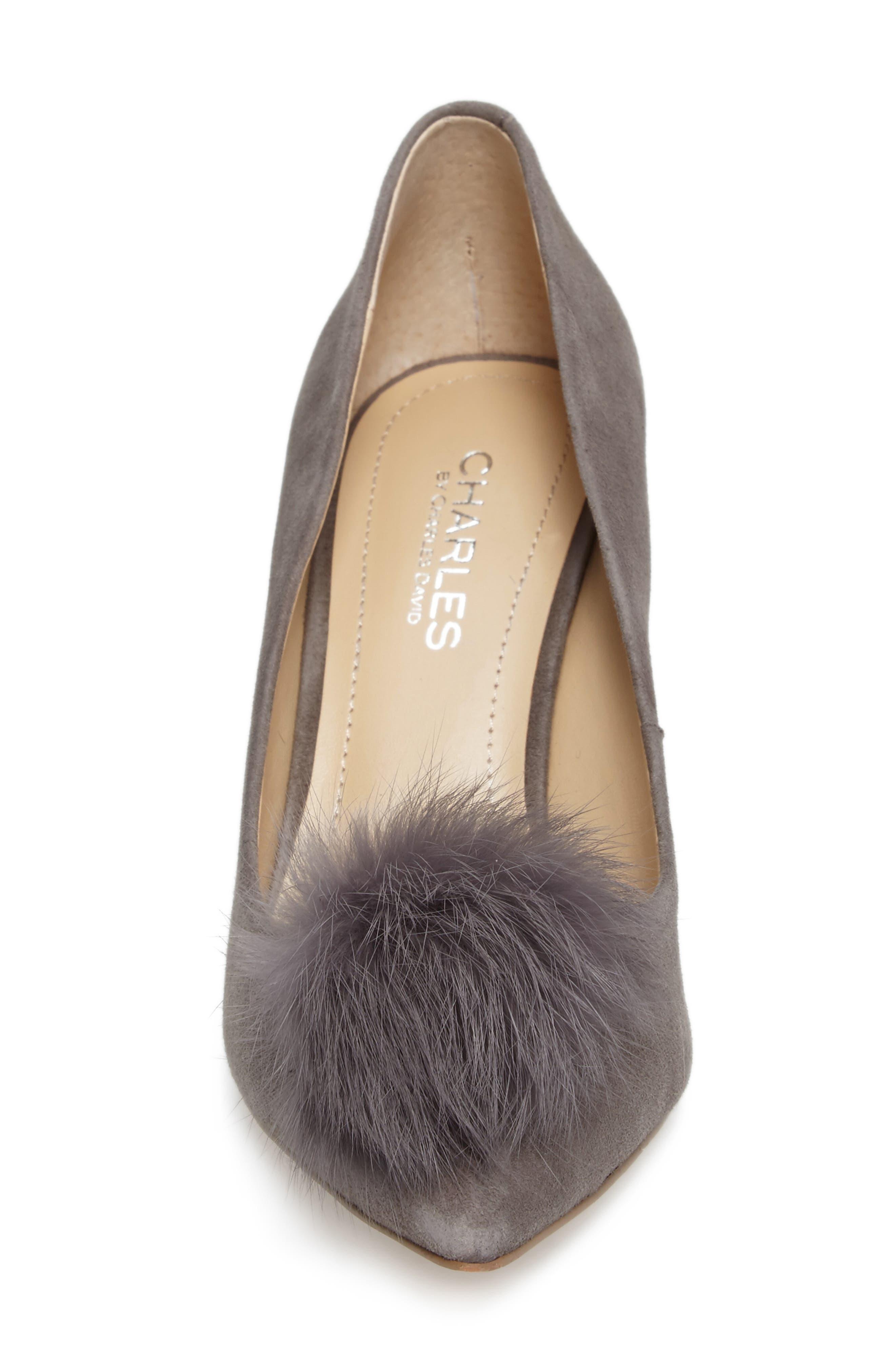 Sadie Genuine Rabbit Fur Pom Pump,                             Alternate thumbnail 4, color,                             Slate Suede