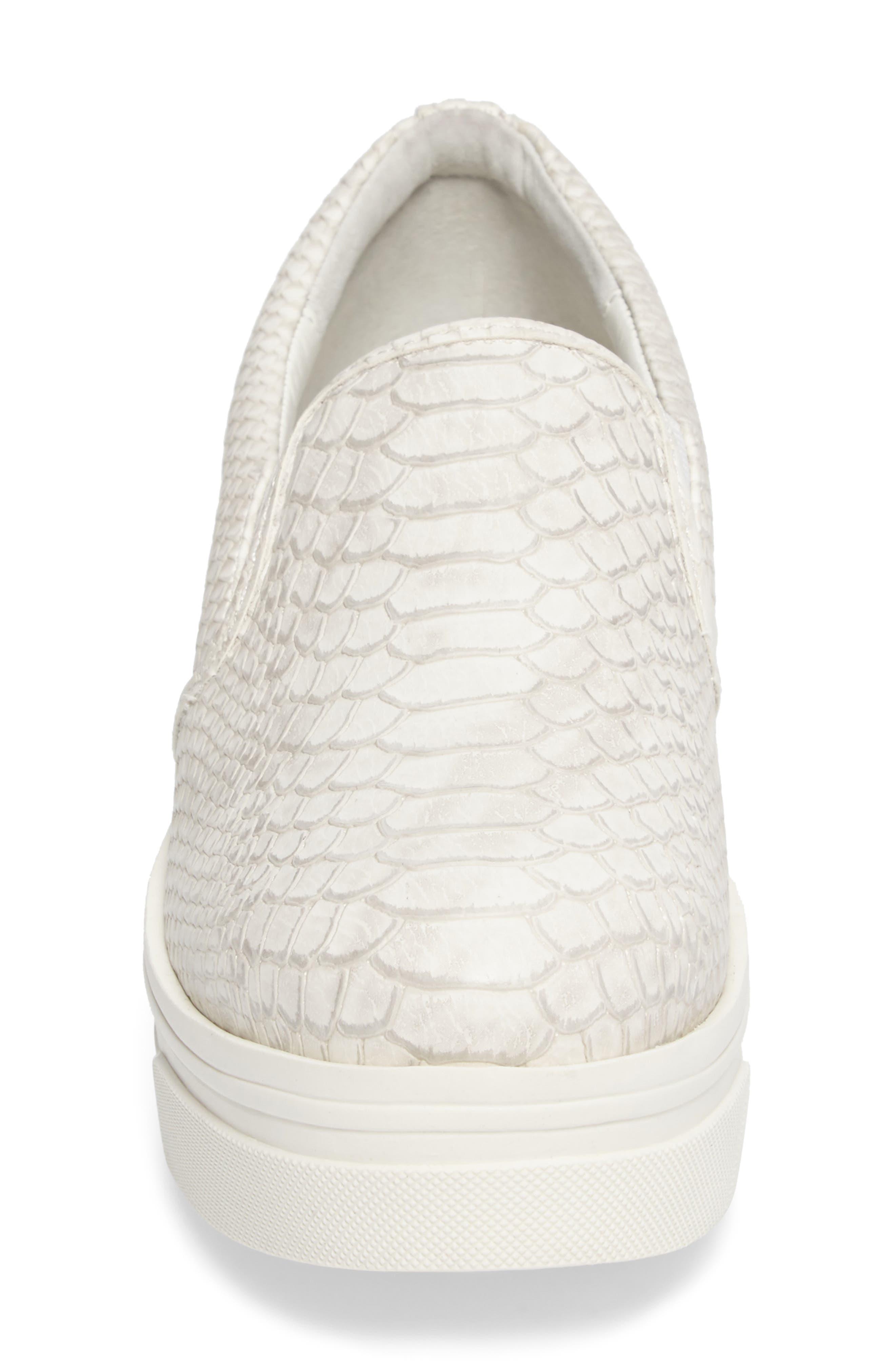 Genna Slip-On Sneaker,                             Alternate thumbnail 4, color,                             White Embossed Leather