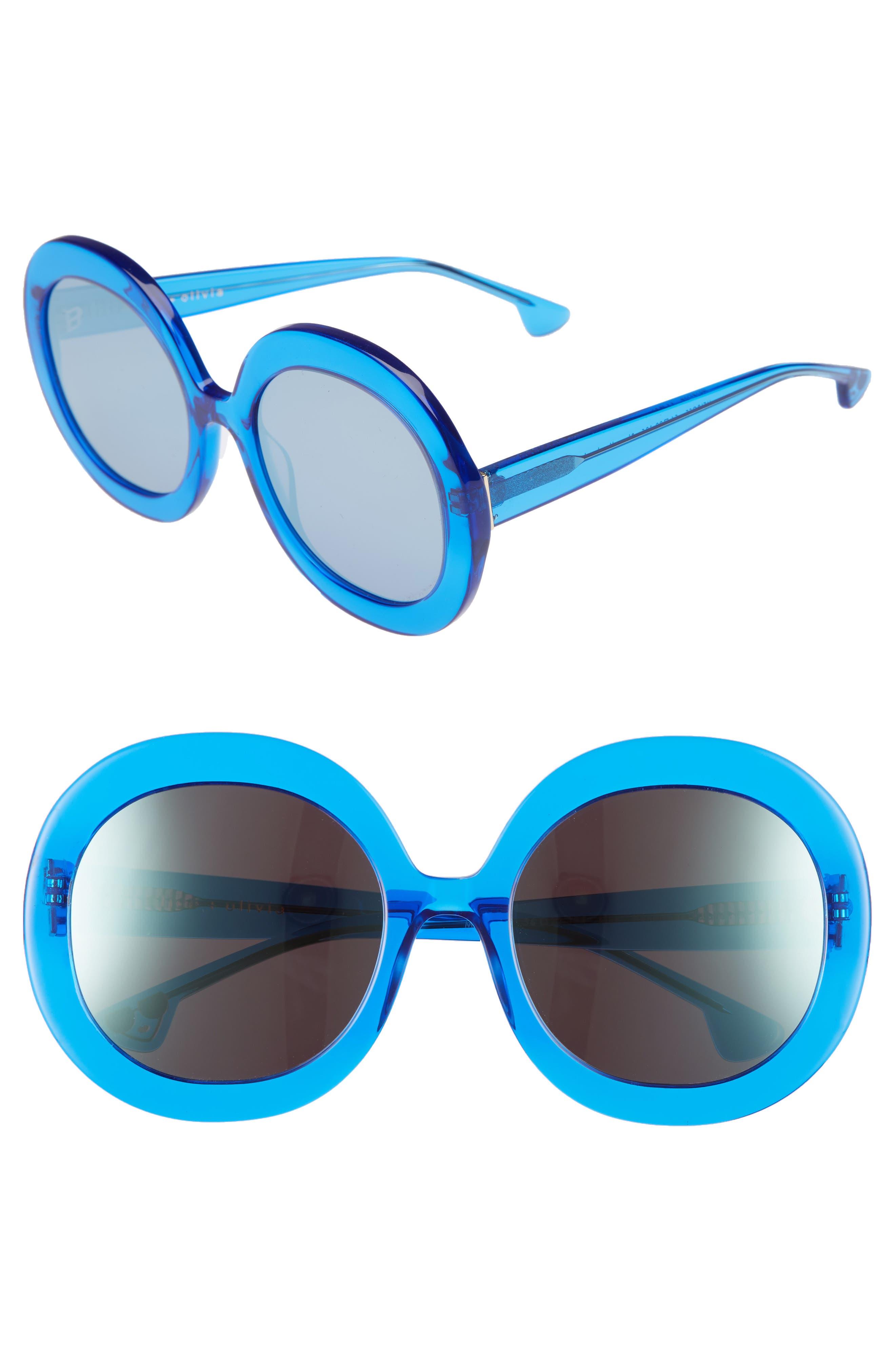 Main Image - Alice + Olivia Melrose 56mm Round Sunglasses