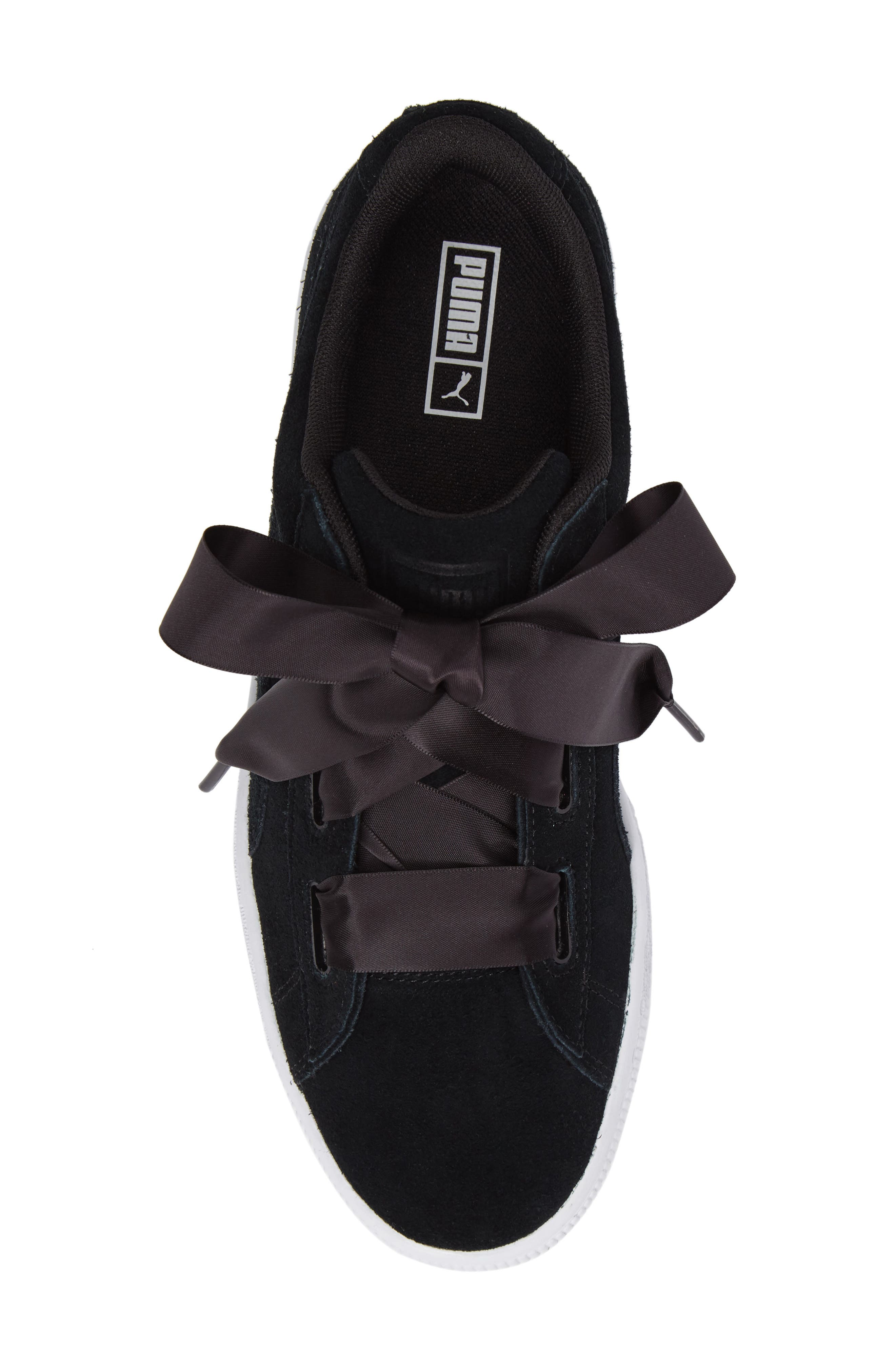 Suede Heart Sneaker,                             Alternate thumbnail 5, color,                             Puma Black