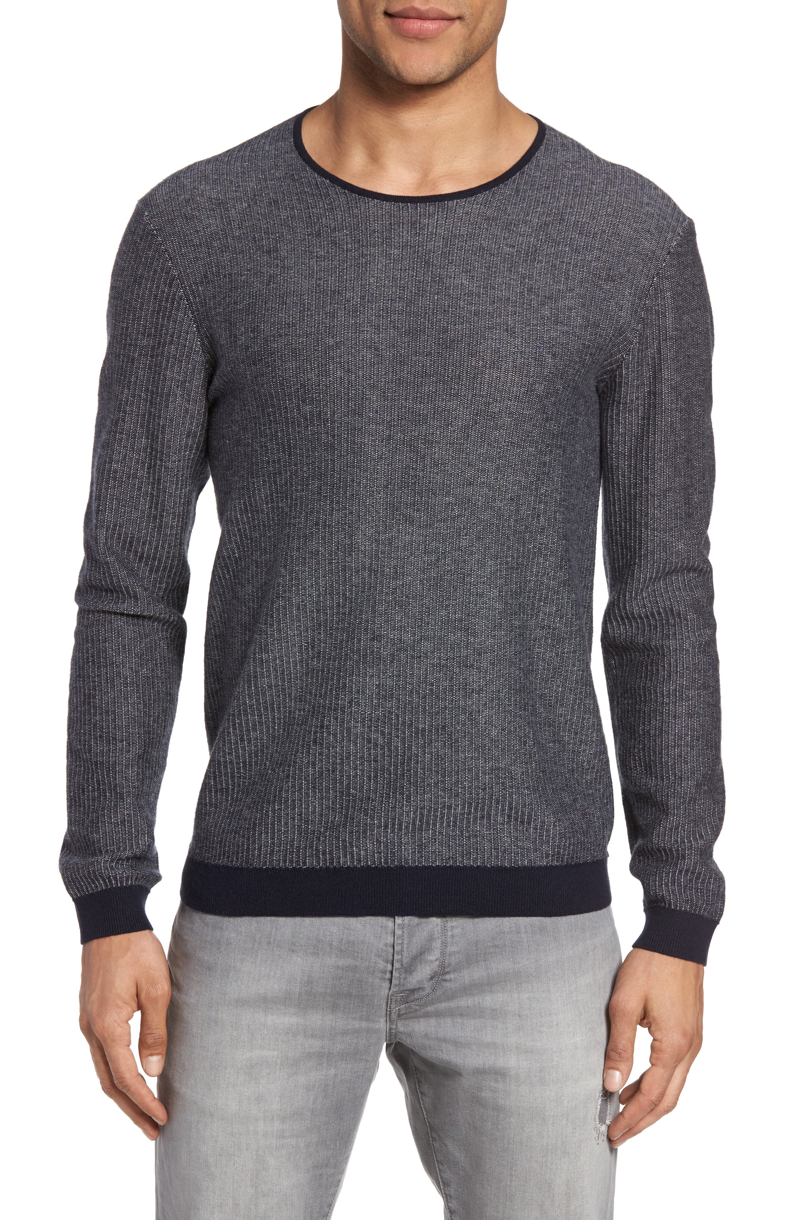 Cotton & Cashmere Sweater,                             Main thumbnail 1, color,                             Midnight