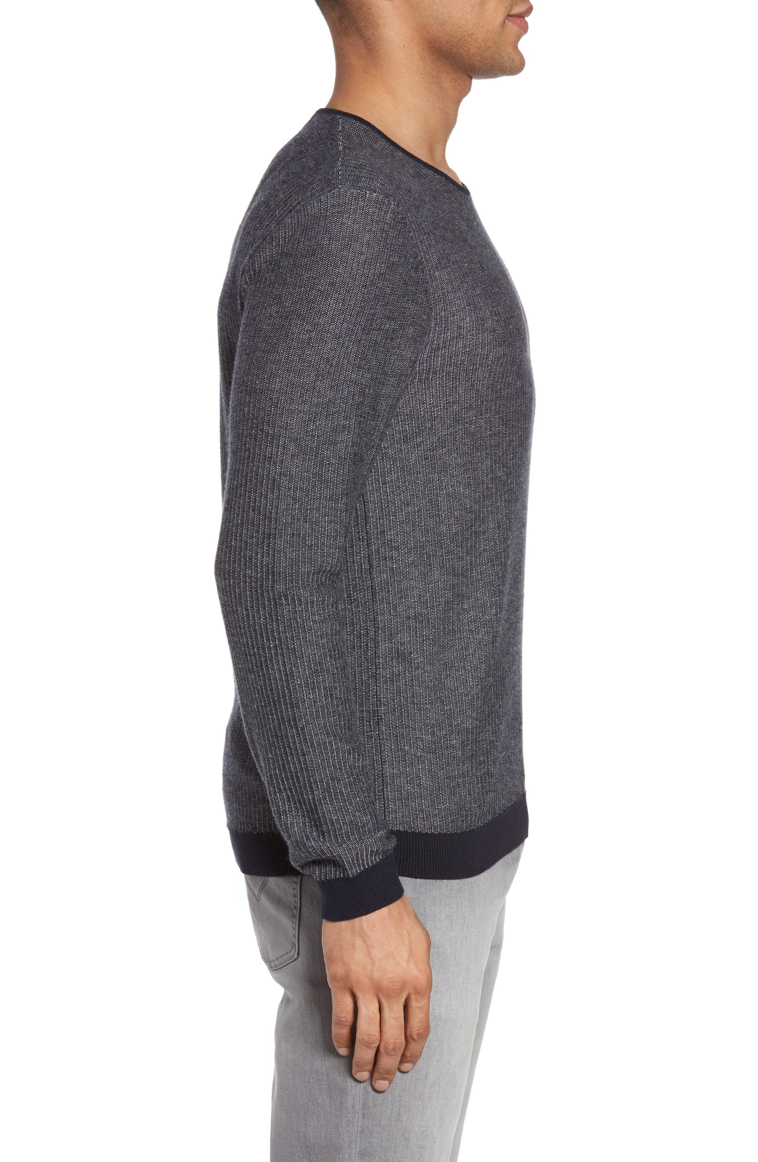 Cotton & Cashmere Sweater,                             Alternate thumbnail 3, color,                             Midnight
