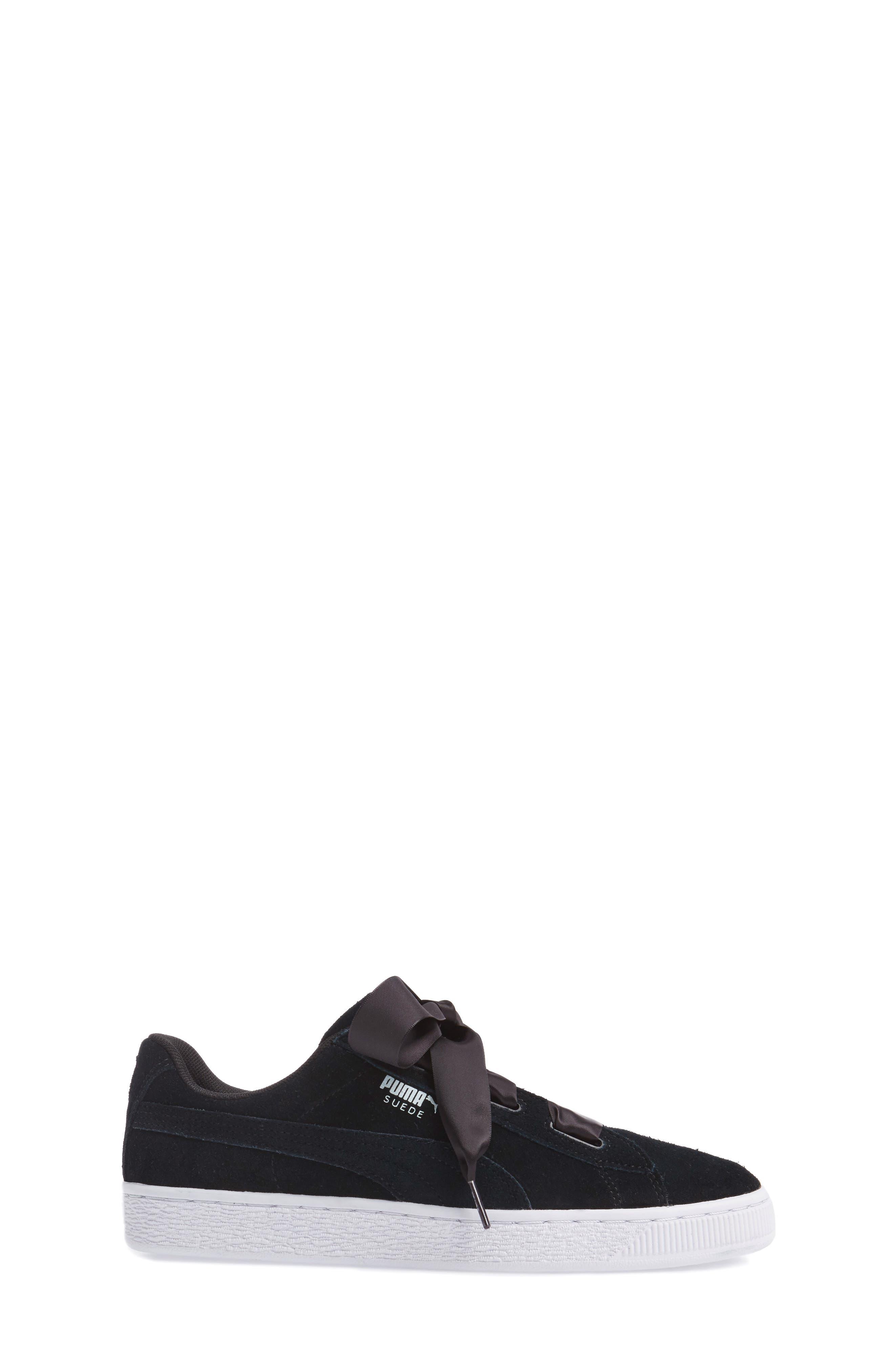 Suede Heart Sneaker,                             Alternate thumbnail 3, color,                             Puma Black