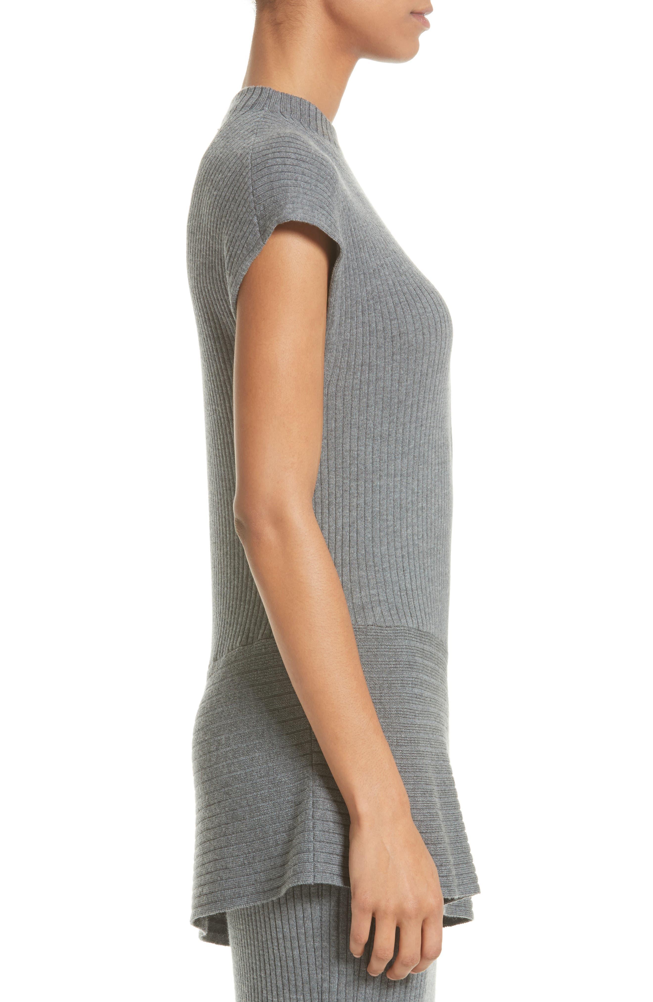 Asymmetrical Rib Knit Top,                             Alternate thumbnail 3, color,                             Flint Melange
