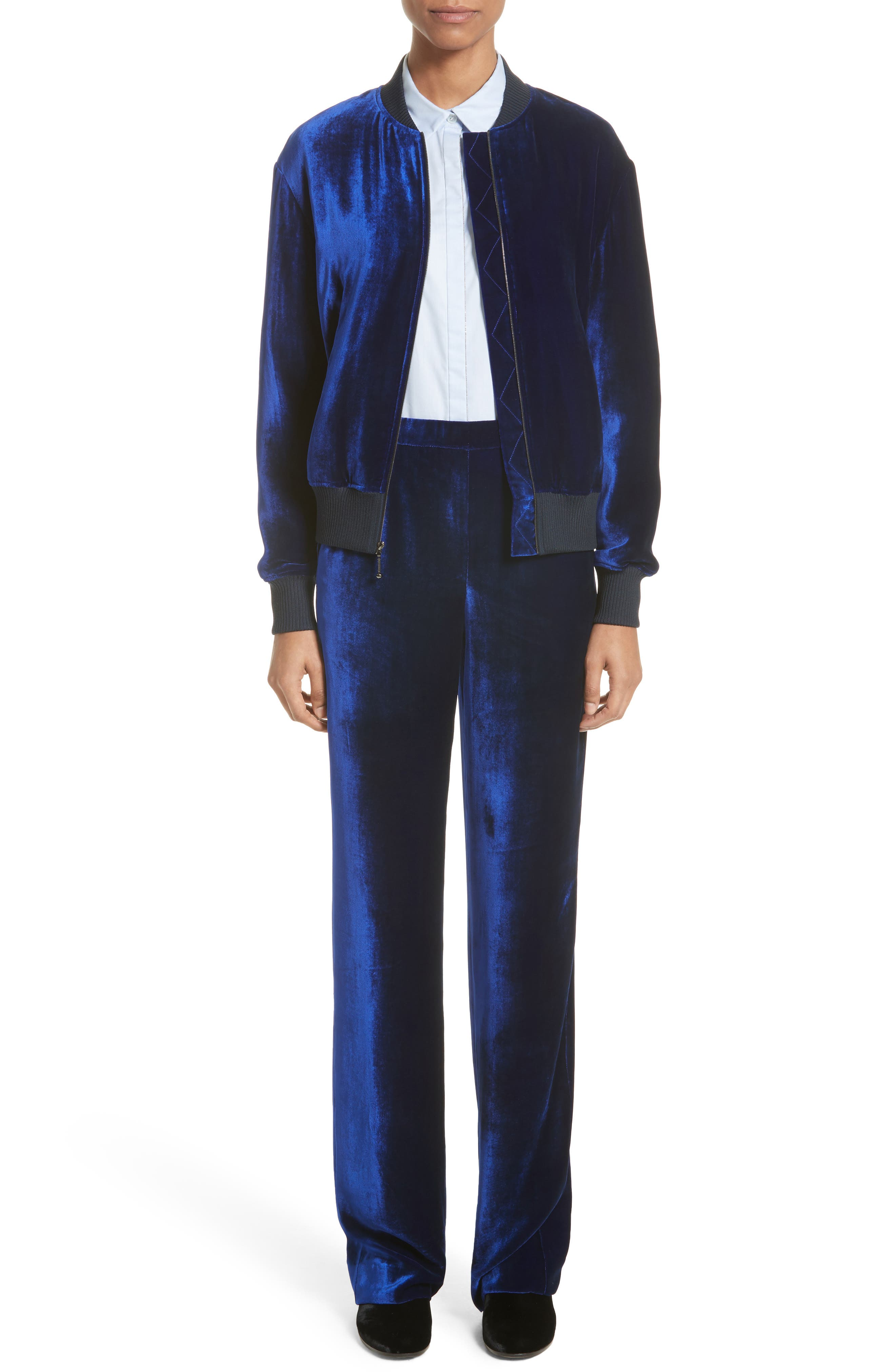 Alternate Image 8  - St. John Collection Velvet Wide Leg Pants