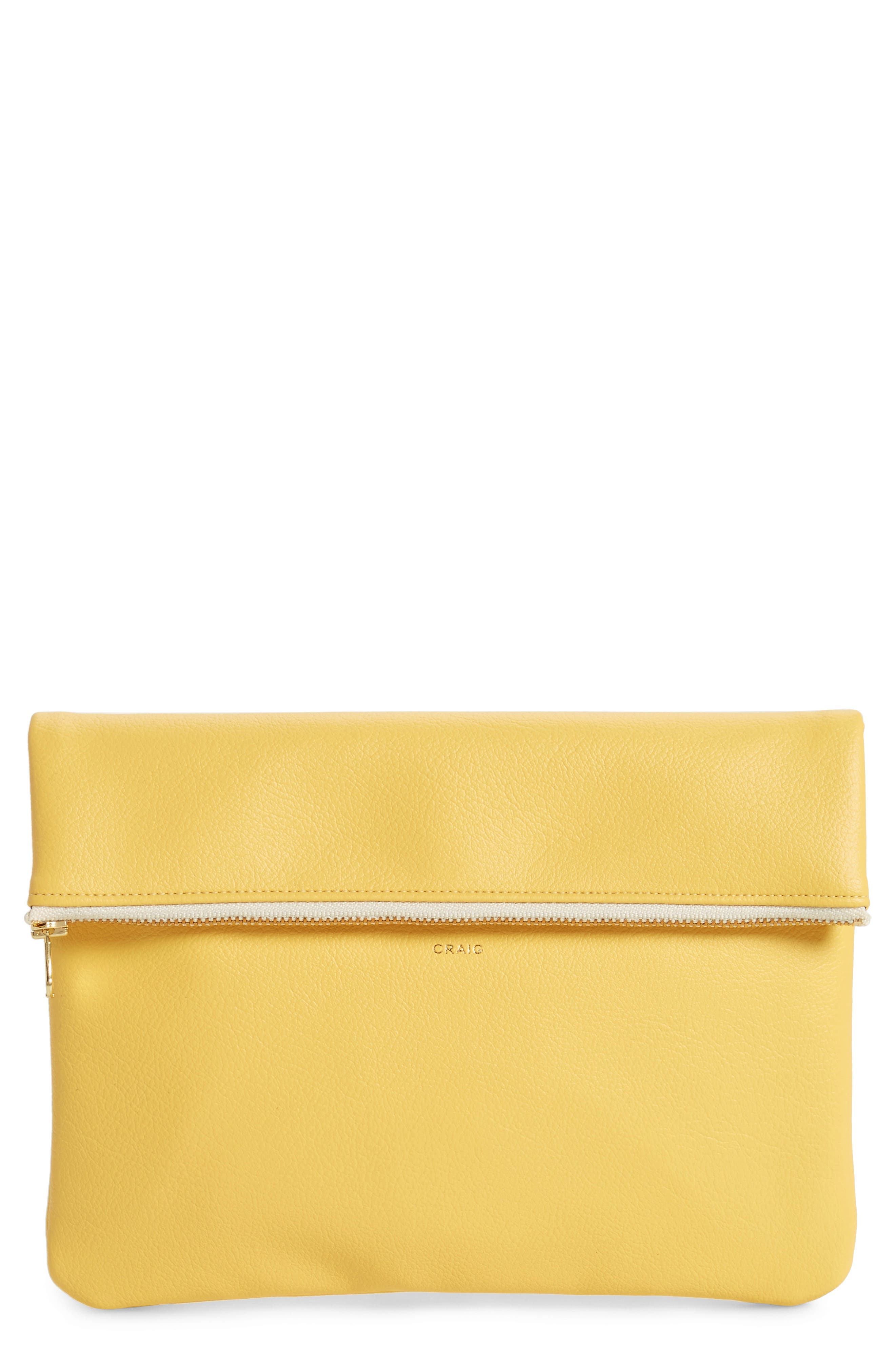 Craig Medium Faux Leather Clutch,                         Main,                         color, Yellow