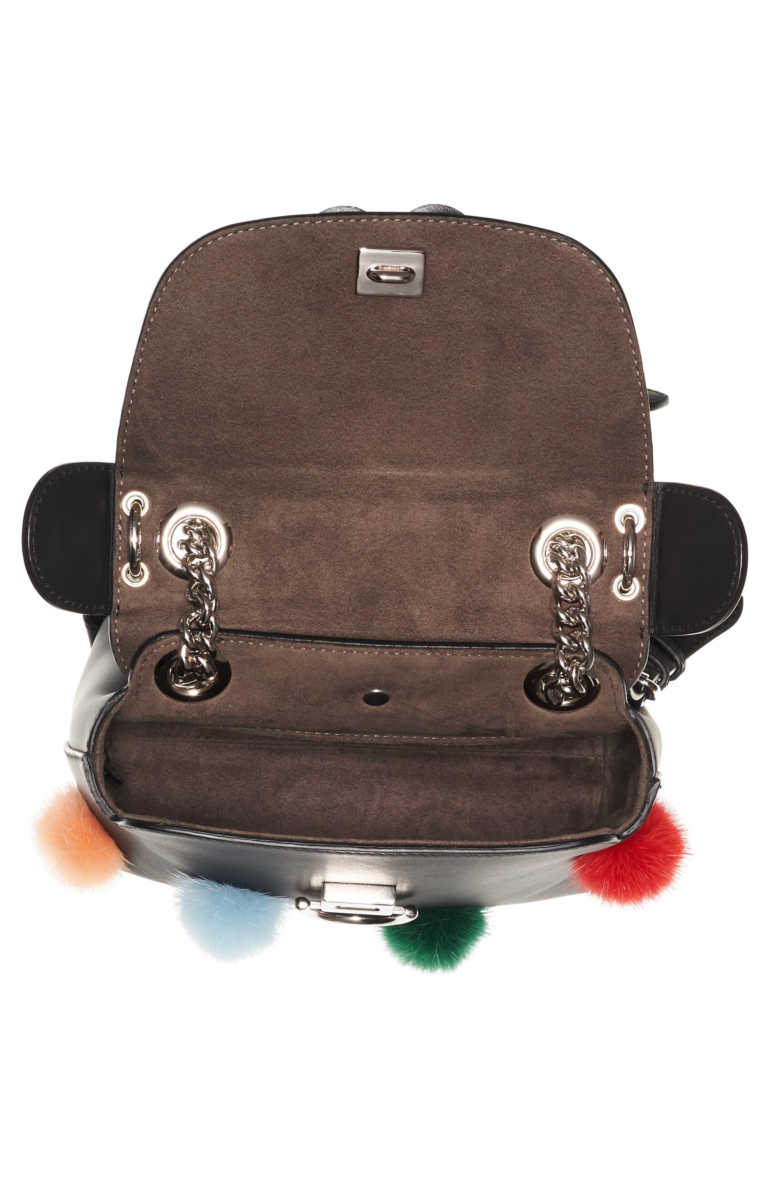 Mini Back to School Genuine Mink Fur Pompom Leather Shoulder Bag,                             Alternate thumbnail 4, color,                             Black Multi