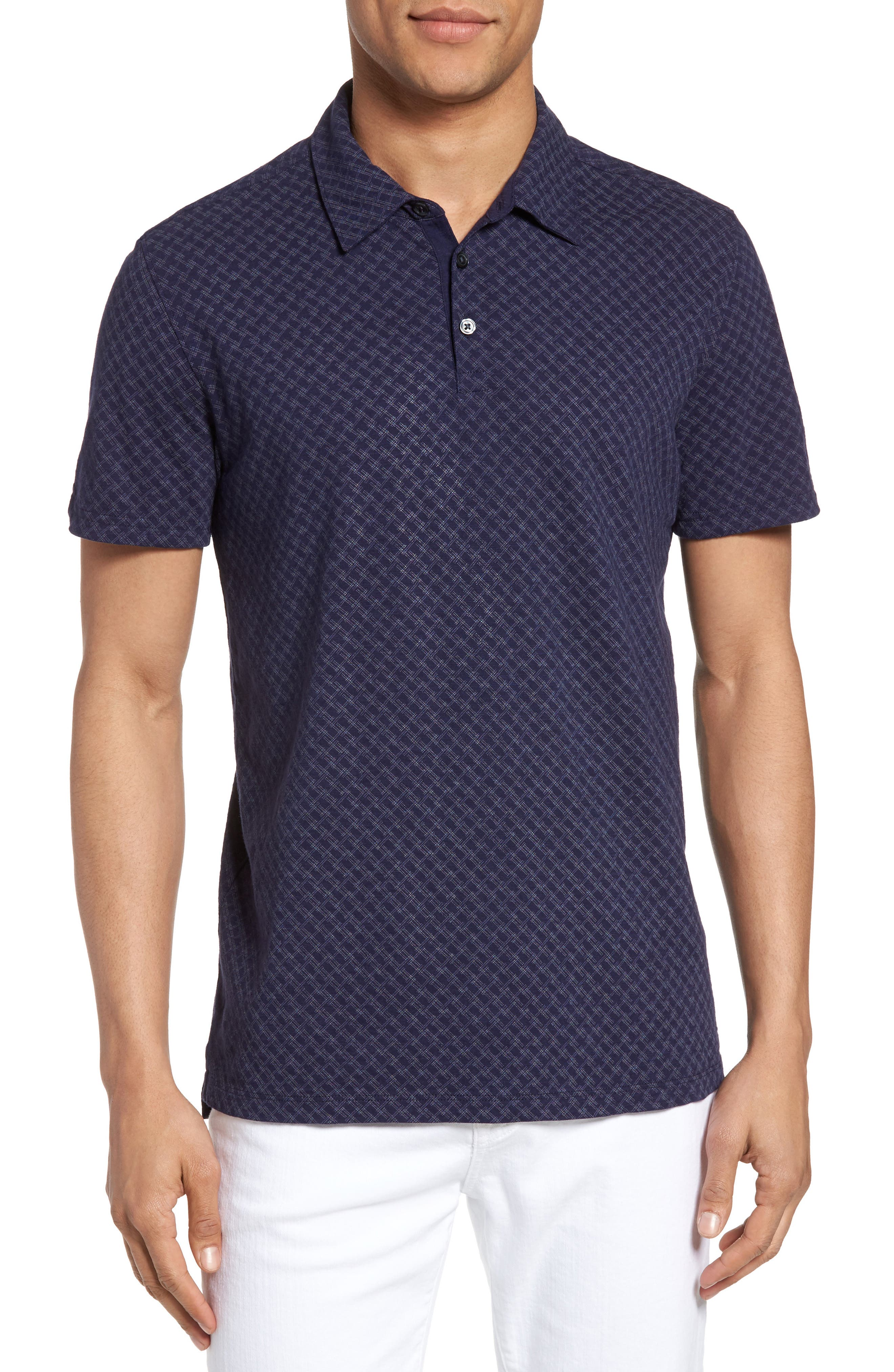 Mays Print Jersey Polo,                         Main,                         color, Navy
