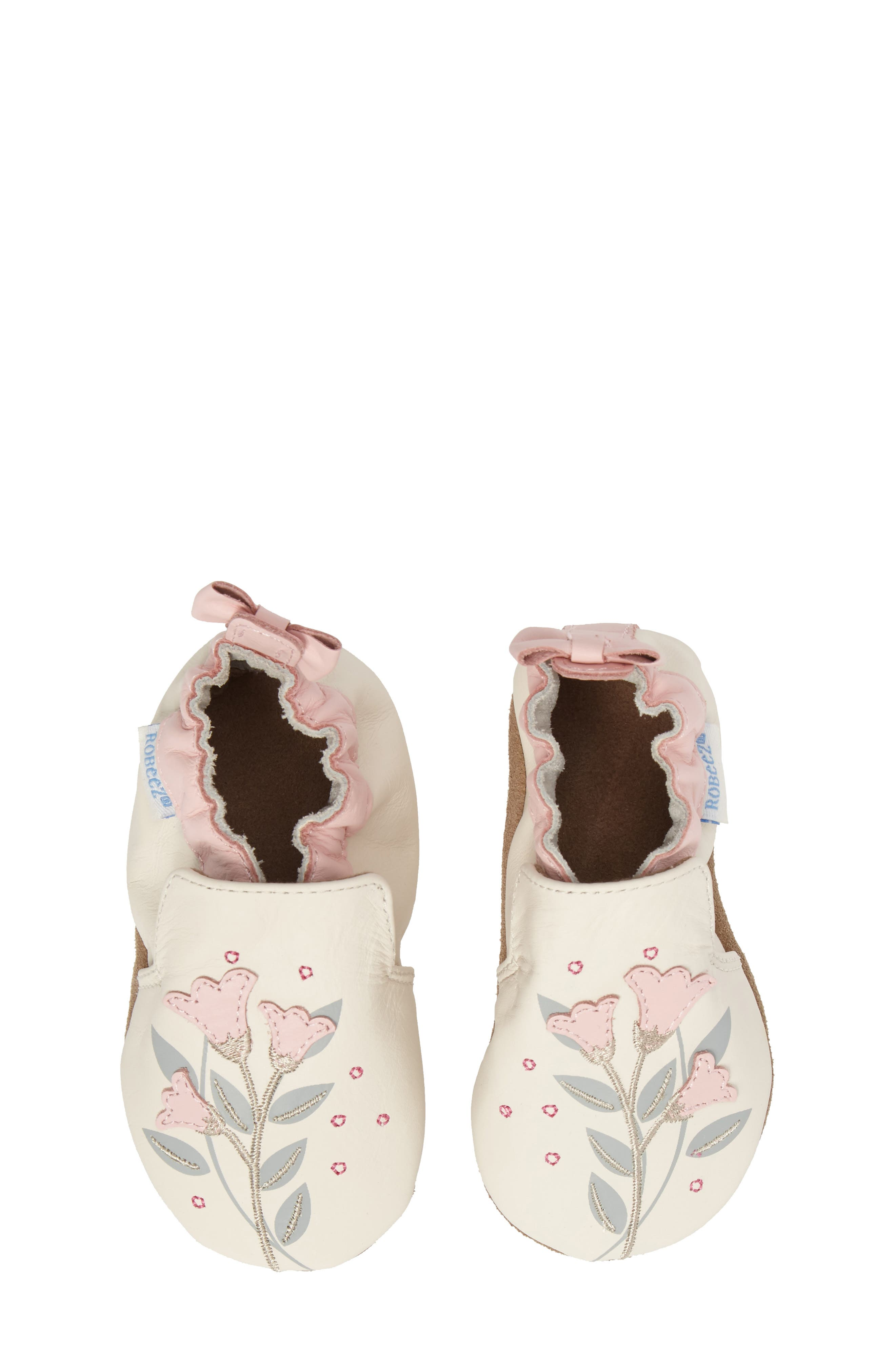 Rosealean Crib Shoe,                             Alternate thumbnail 5, color,                             Cream/ Pink Leather