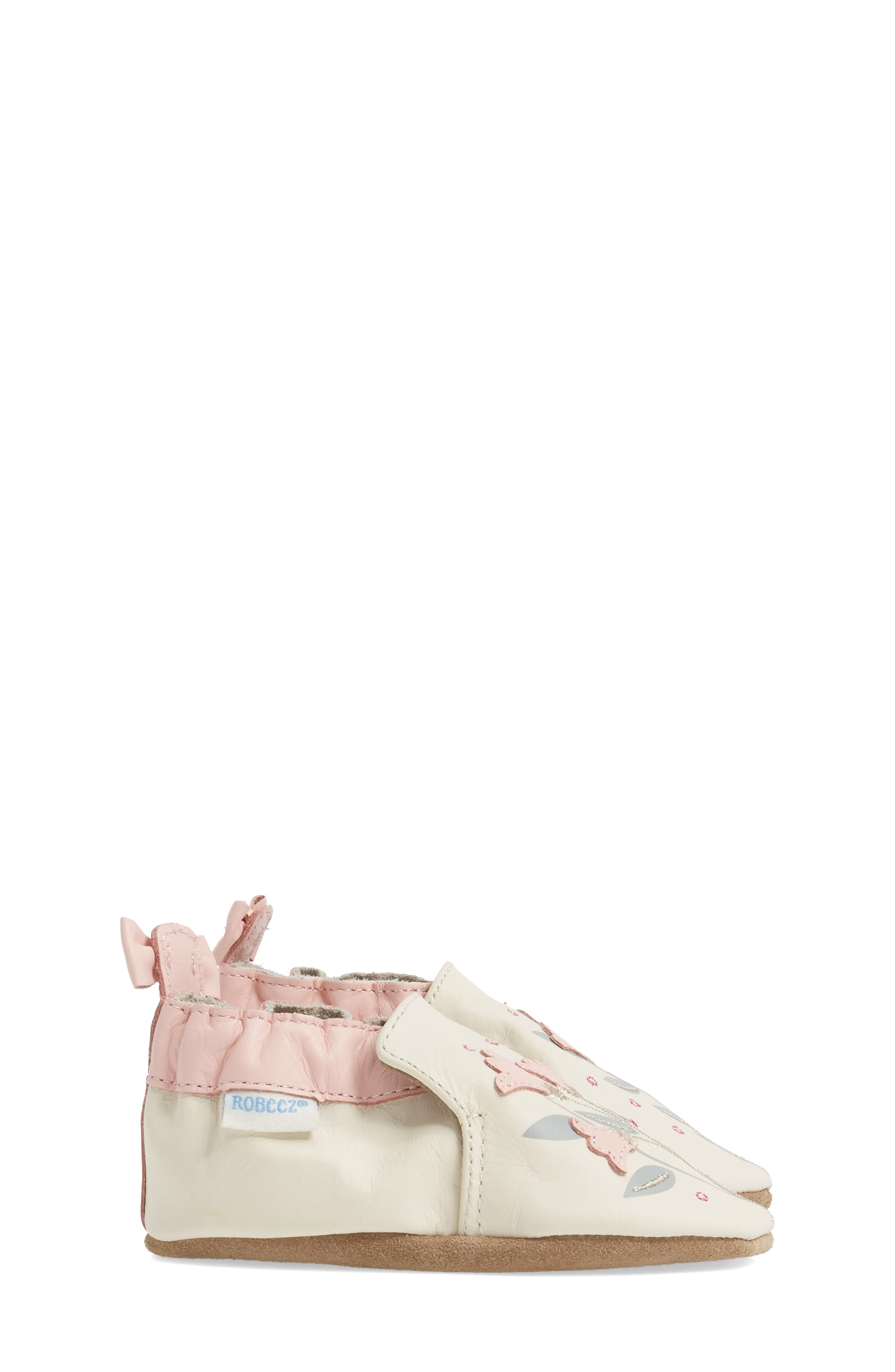 Rosealean Crib Shoe,                             Alternate thumbnail 3, color,                             Cream/ Pink Leather