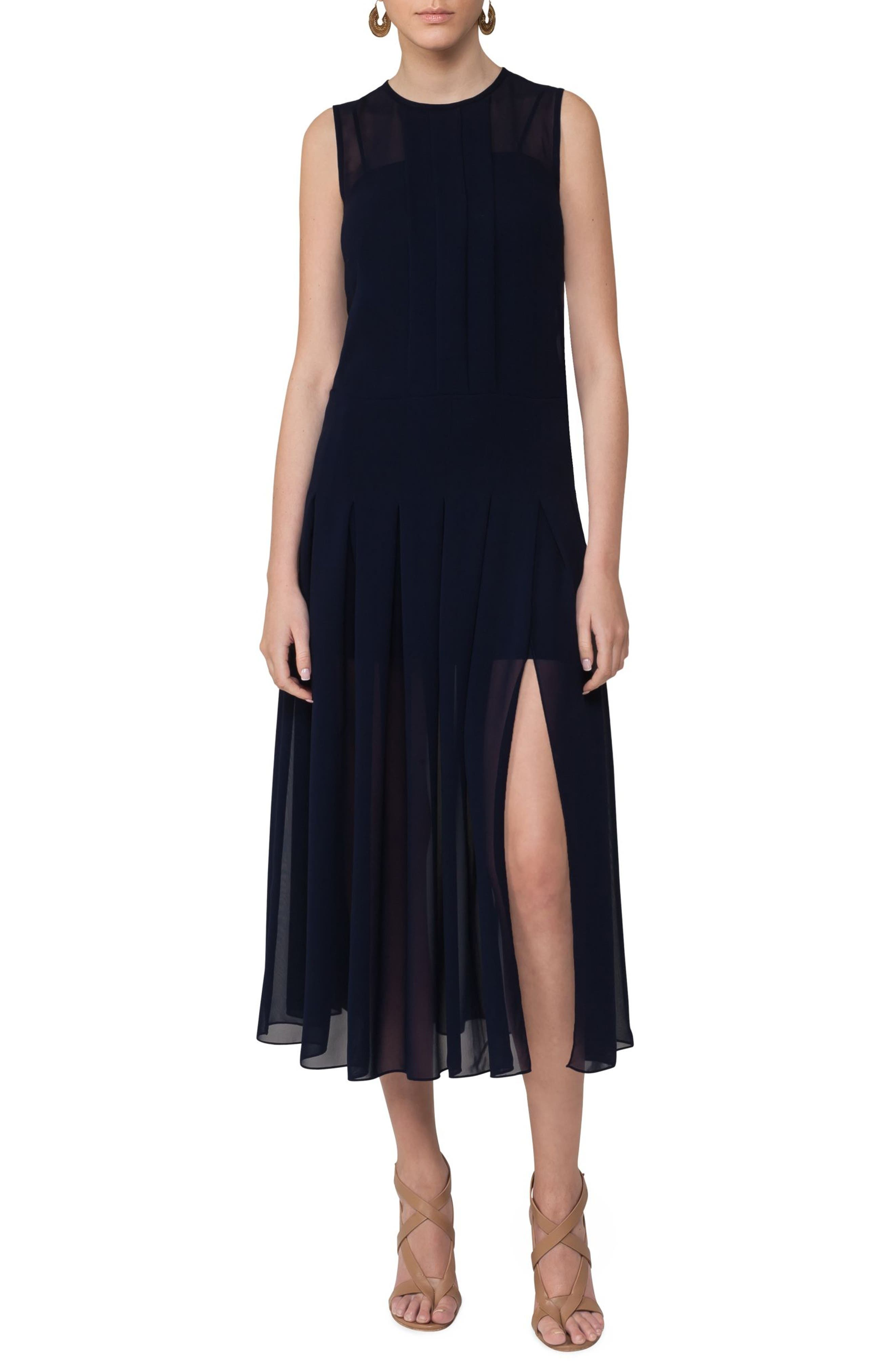 Sheer Pleat Midi Dress,                         Main,                         color, Solid Blue Denim