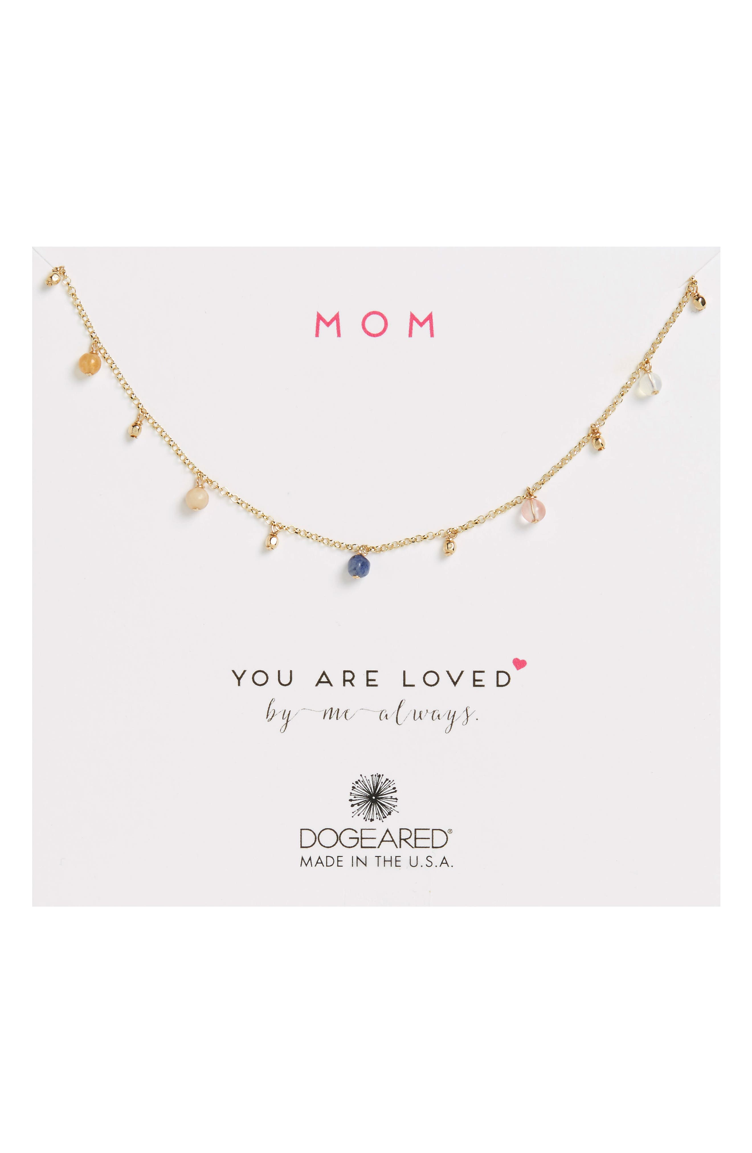 Main Image - Dogeared Mom You Are Loved Stone Bead Necklace