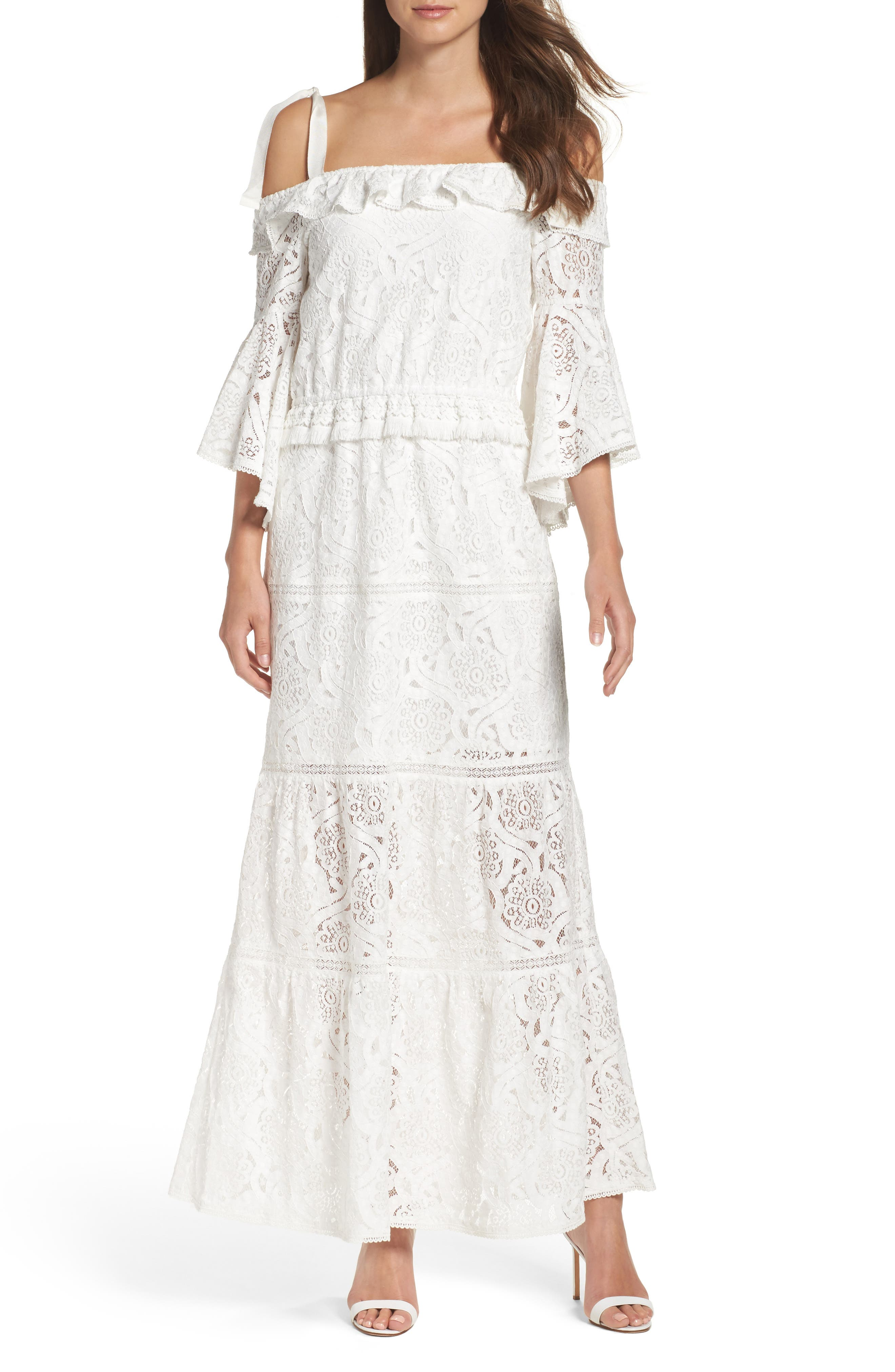 Lace Bell Sleeve Off the Shoulder Gown,                         Main,                         color, White